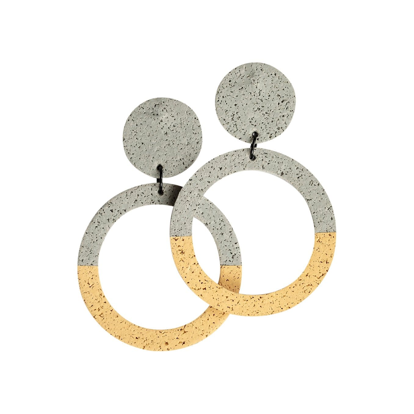 Champ.Co Earrings Large / Grey + Sand Two Tone Penny Hoops