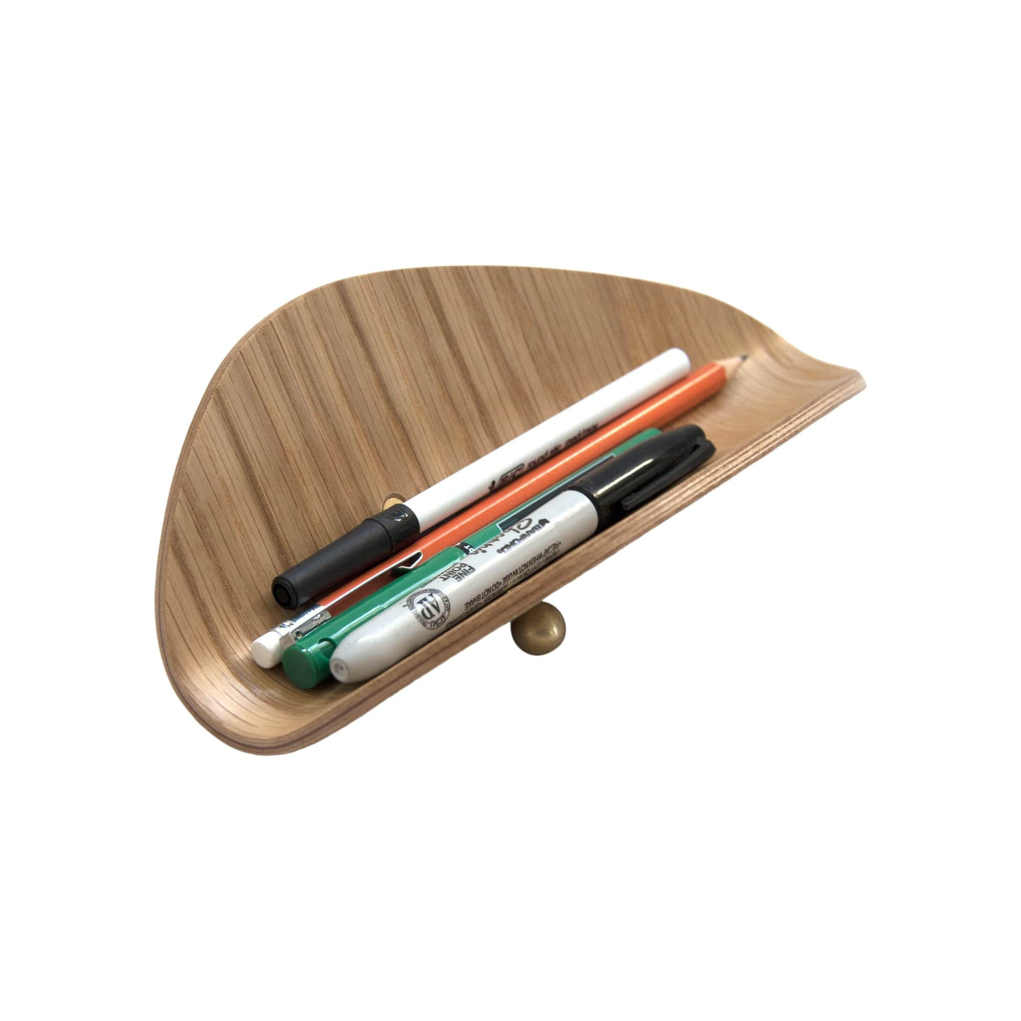 Ciseal Desk Accessories Oak / Brass Pencil Holder
