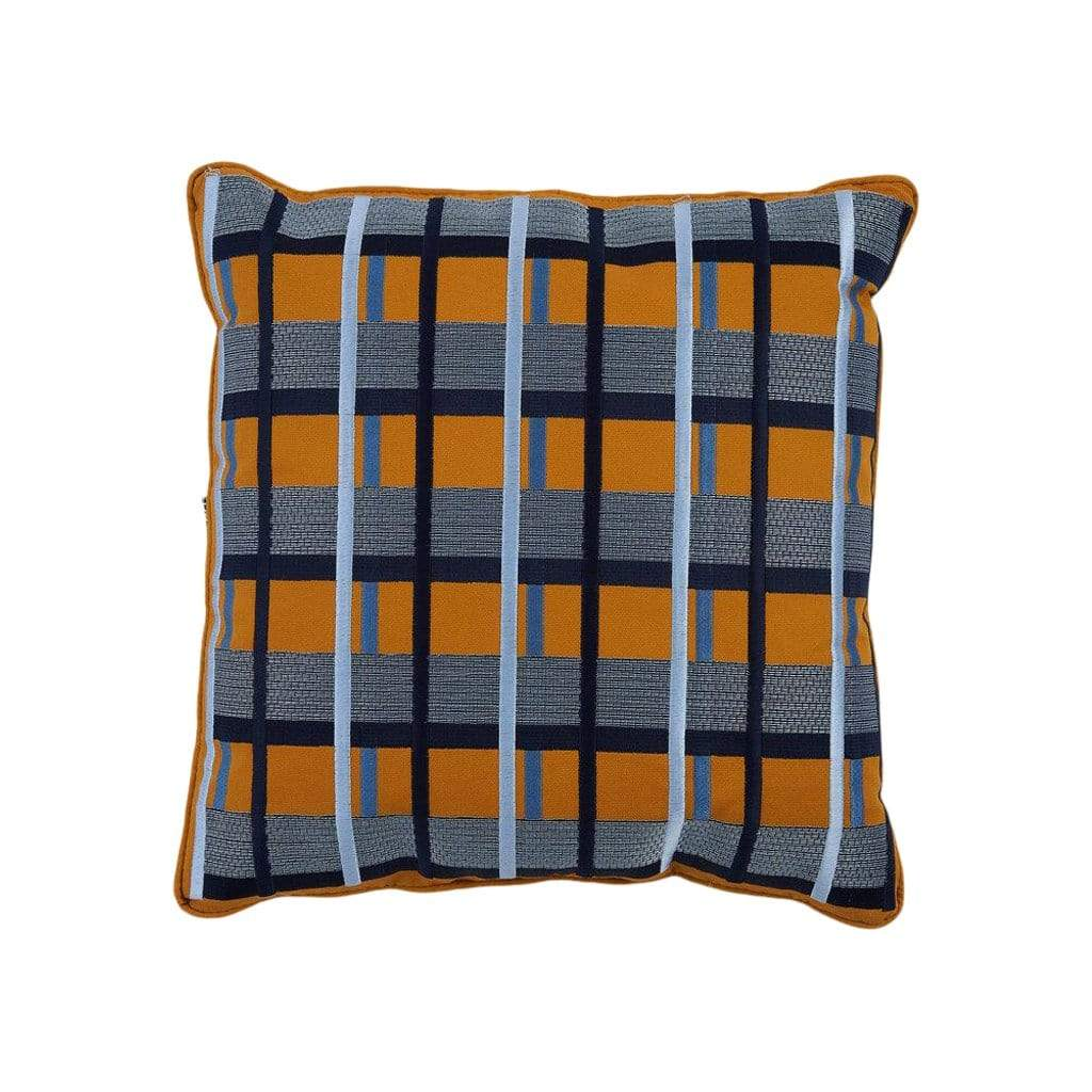 Scatter Cushion Mustard Grid S008