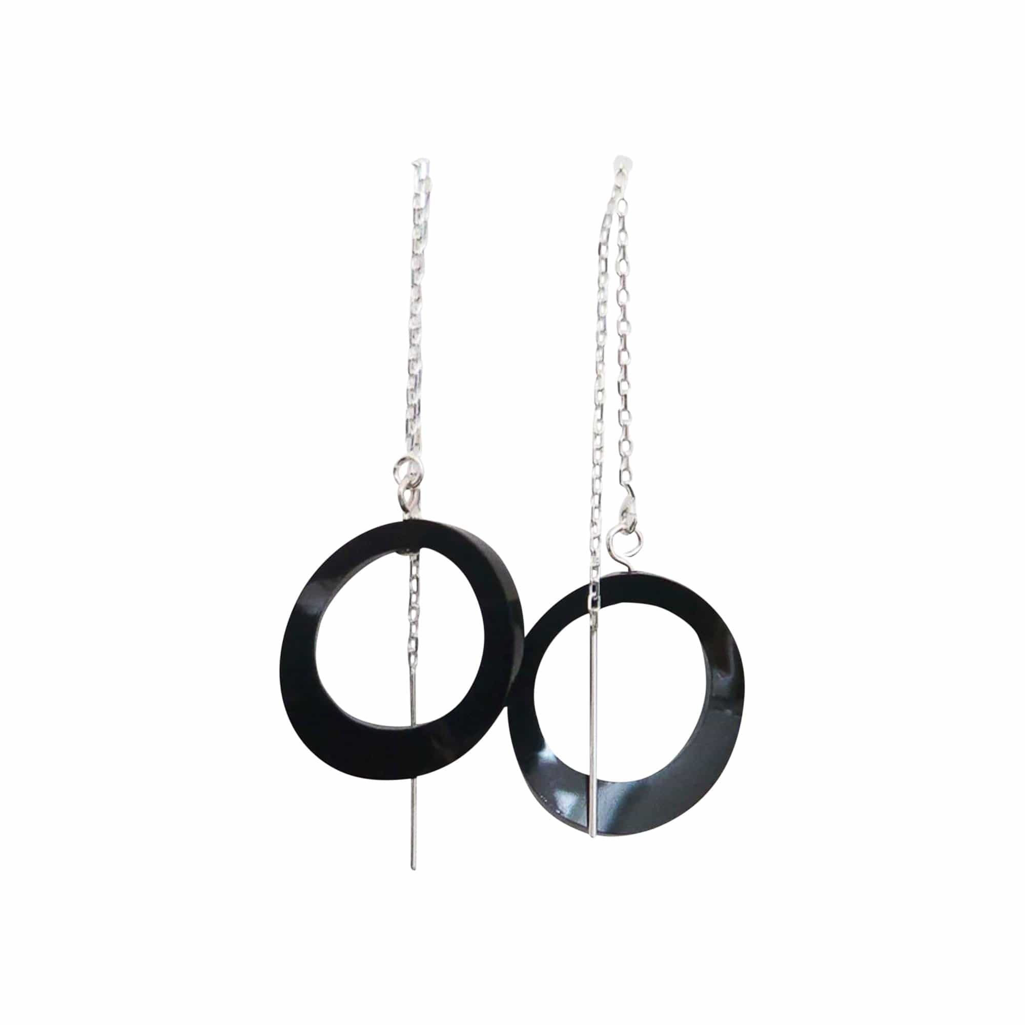 Ex Ovo Earrings One Size / Black Ovals on Chain Earrings