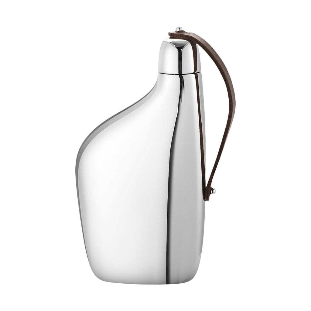 Georg Jensen Bar Accessories + Tools Sky Stainless Steel & Leather Hip Flask