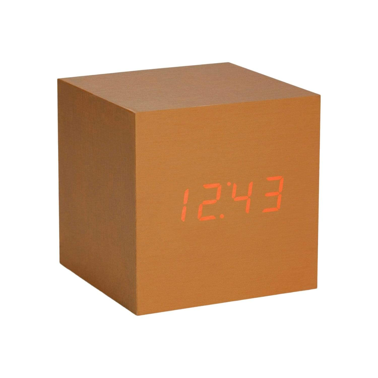 Cube Copper + Red LED Click Clock