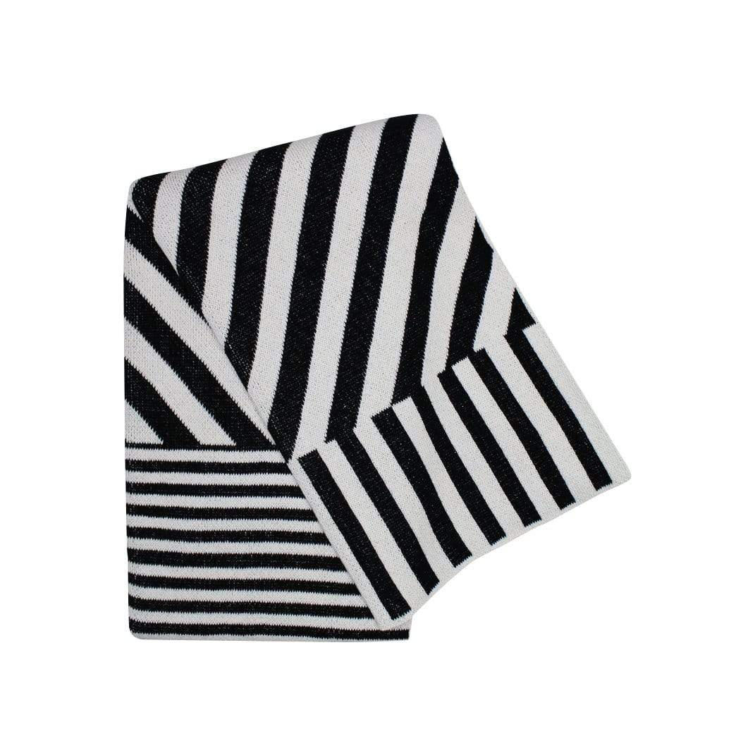 Mixed Up Stripes Black Throw