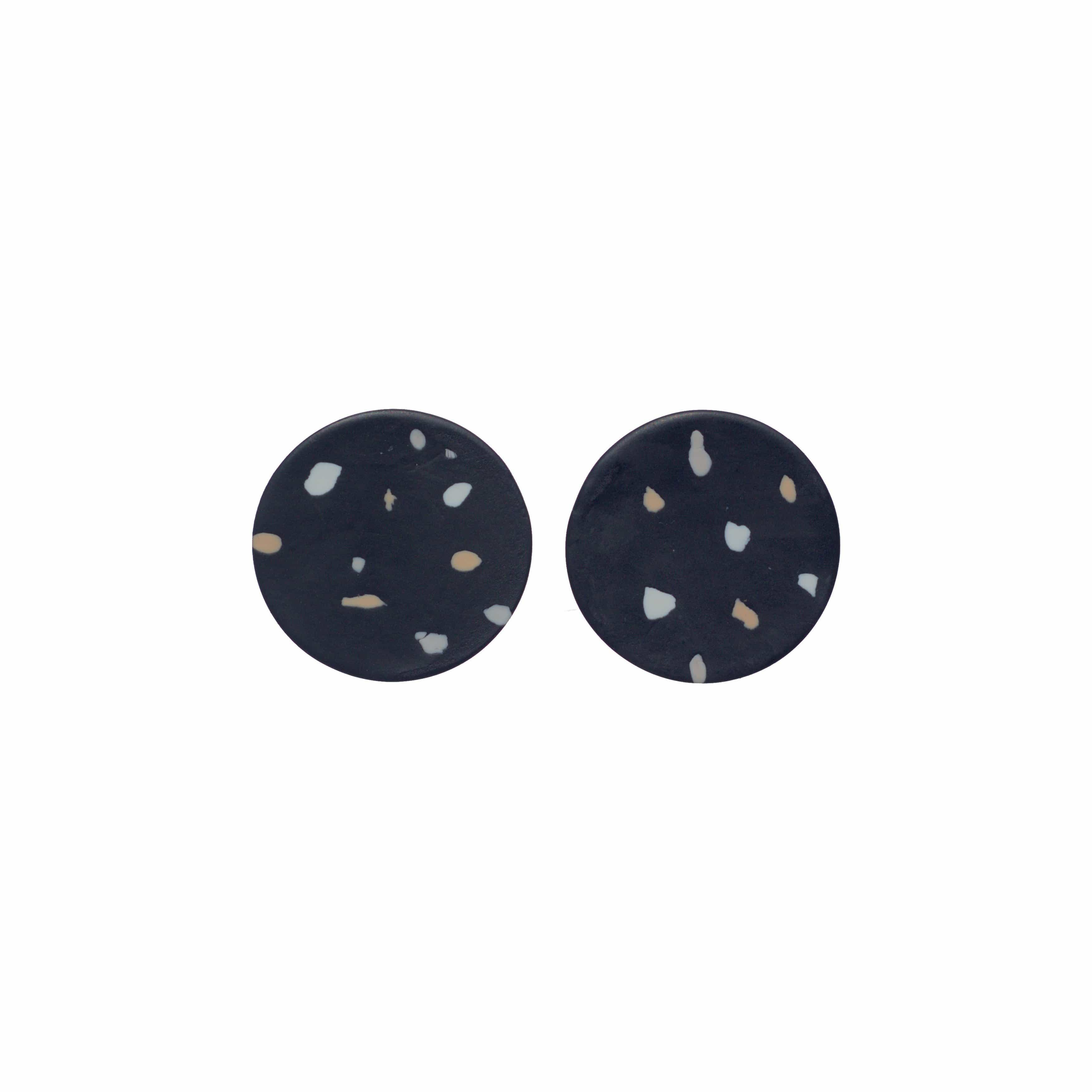 Black Dot Polymer Clay Earrings