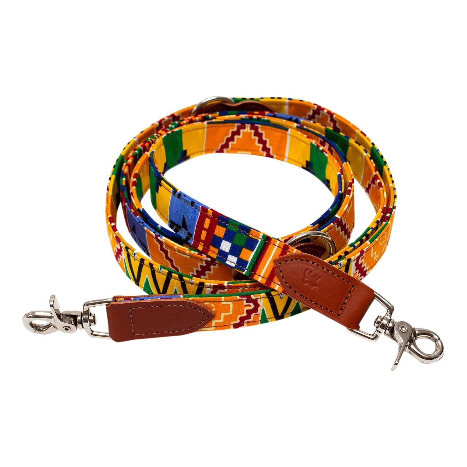 HIRO + WOLF Leashes + Leads Hands-Free Coupler Kente Dog Leash