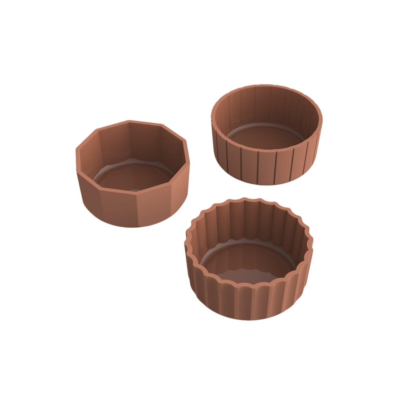 Hue Minimal Decorative Objects Trio Terracotta Bowls