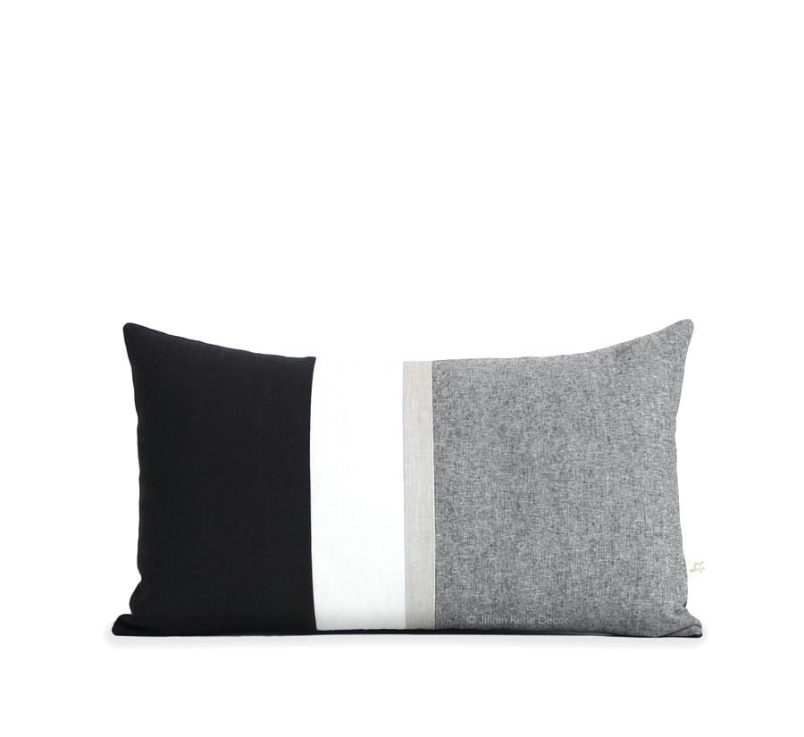Jillian Rene Decor Chambray Pillow Black Chambray Pillow with Metallic Silver Stripe
