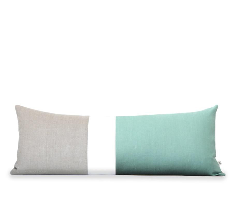 Jillian Rene Decor Colorblock Pillow Aqua and Cream Colorblock Pillow (14x35)