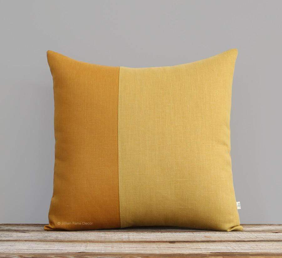 Yellow Colorblock Pillow - Marigold and Squash