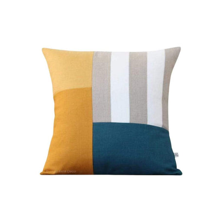 Graphic Grid Pillow - Marigold, Squash, Lake, Cream, Natural