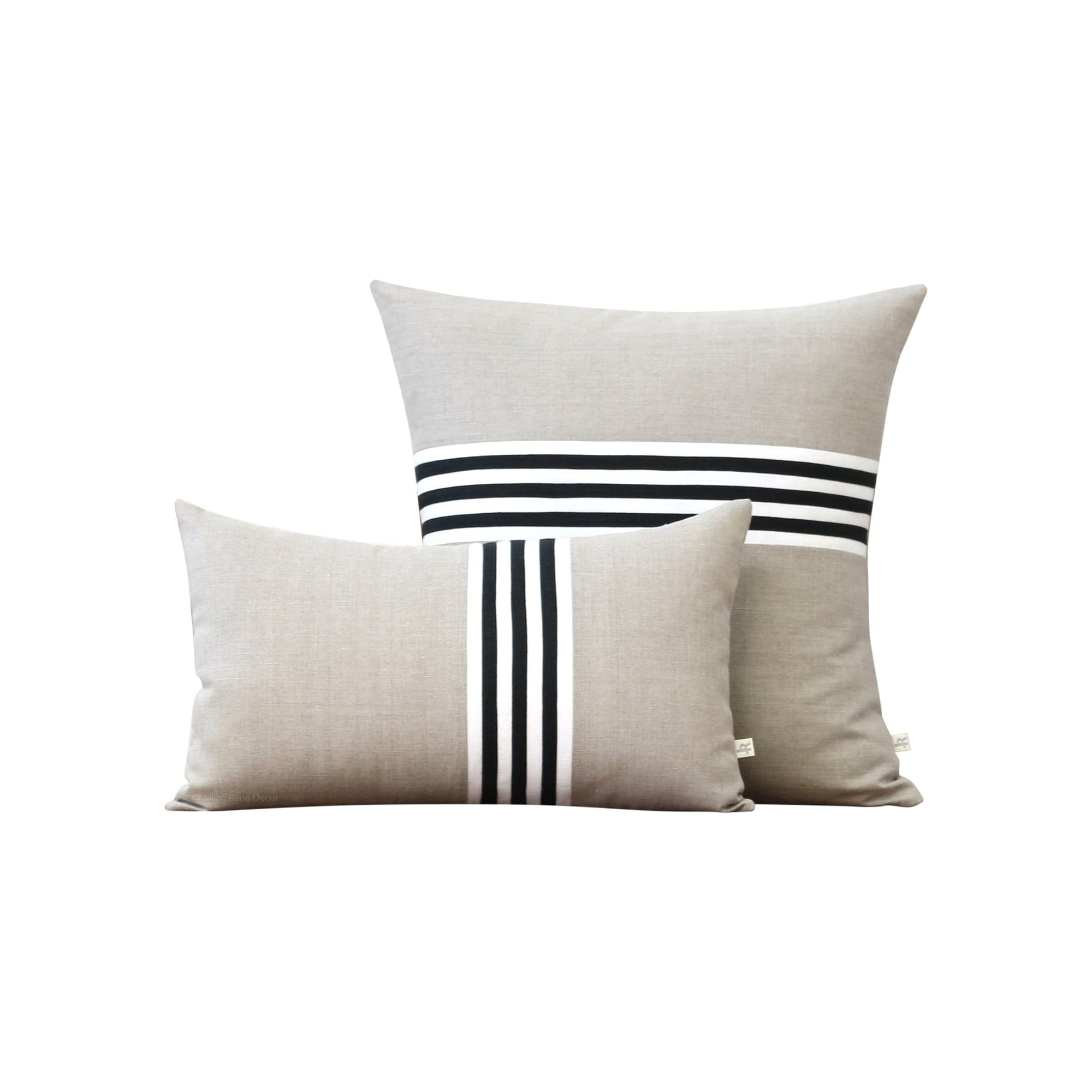 Jillian Rene Decor Cushions + Throws Banded Stripe Pillow - Black, Cream and Natural