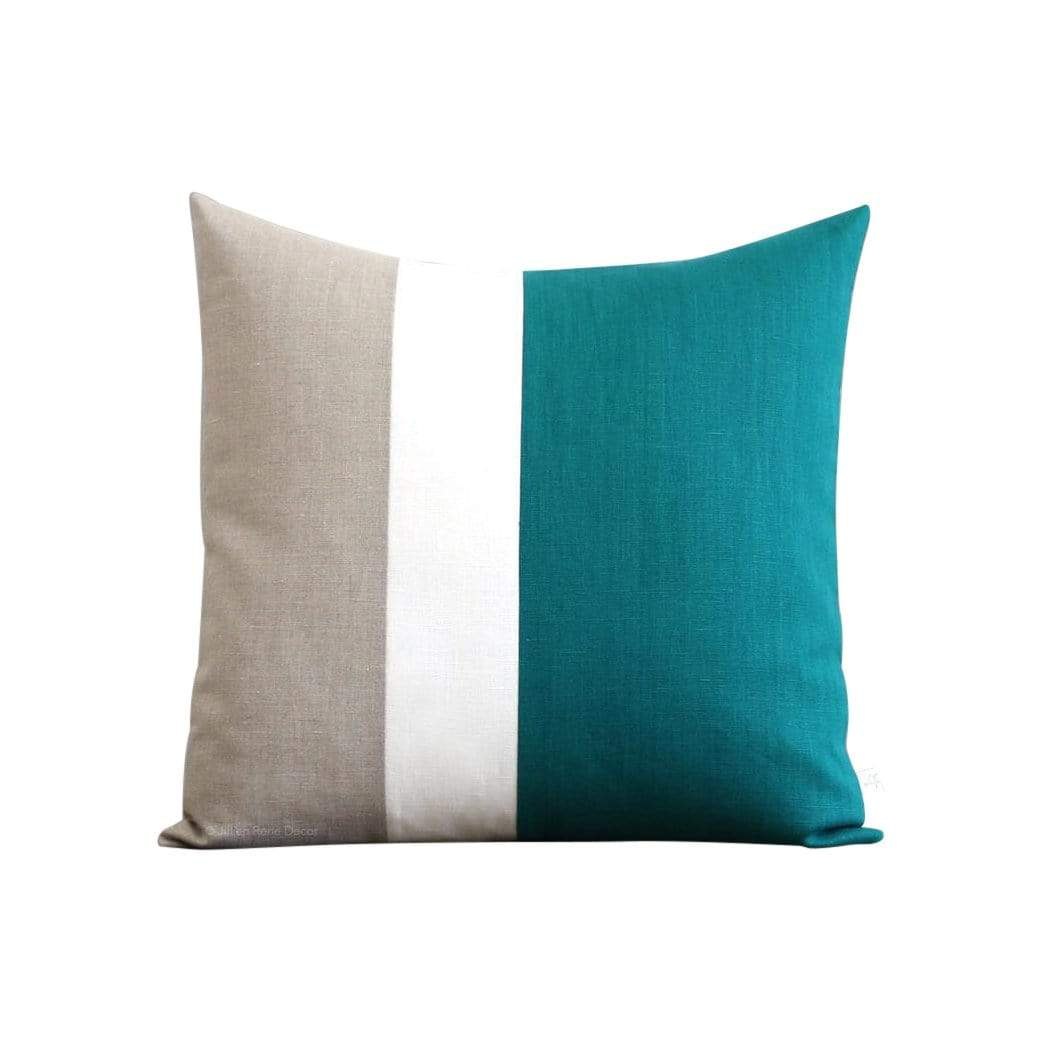 Jillian Rene Decor Cushions + Throws Biscay Bay Colorblock + Cream Stripe Pillow