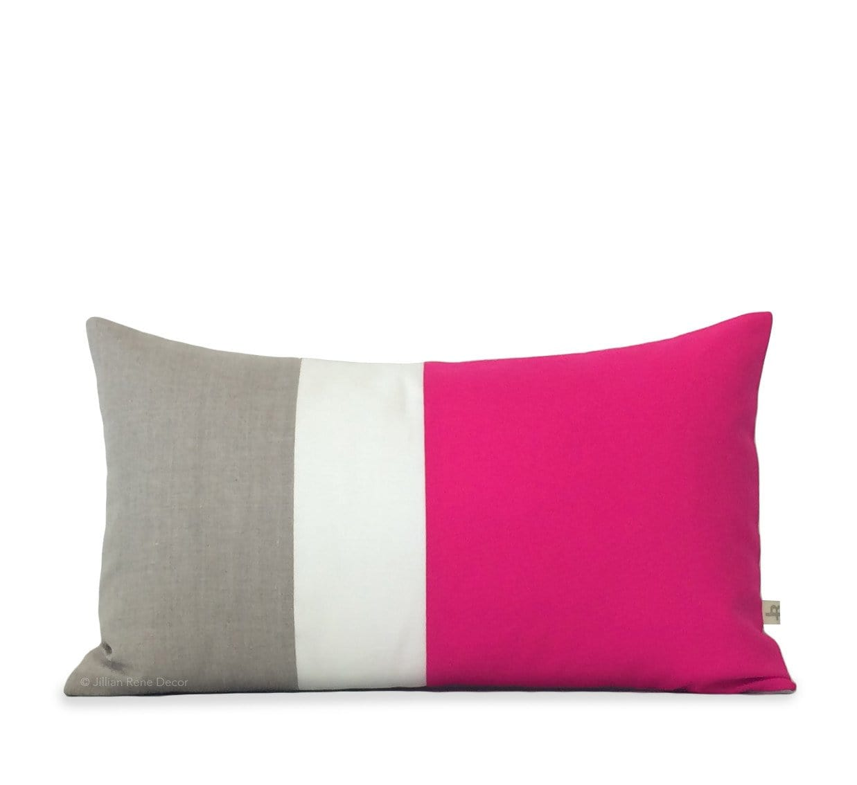 Colorblock Hot Pink, Cream + Natural Pillow