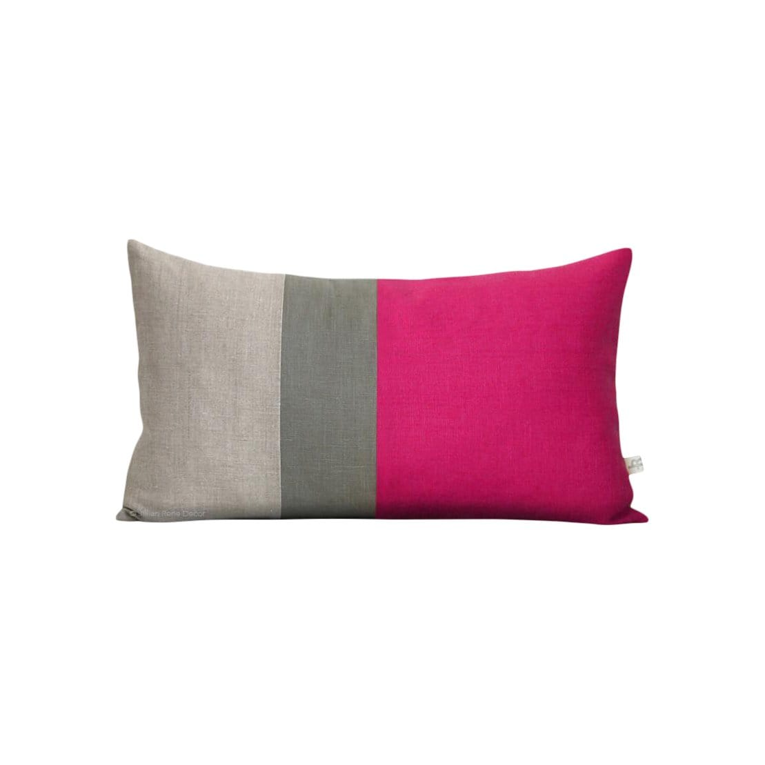 Jillian Rene Decor Cushions + Throws Colorblock Hot Pink, Grey + Natural Pillow