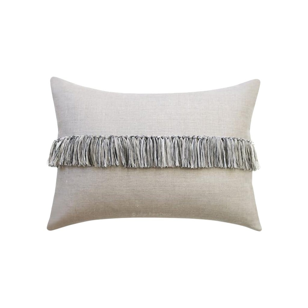 Fringe Black, Cream + Natural Linen Pillow