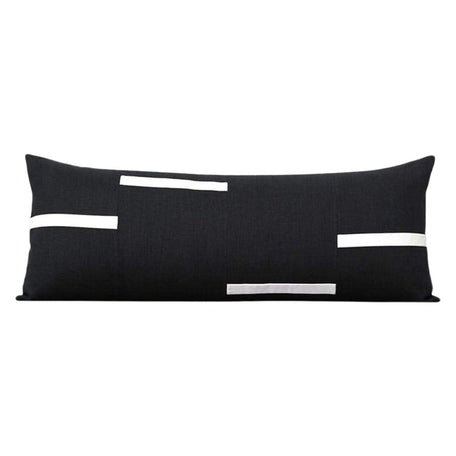 Interconnection Pillow - Black and Cream Dashes