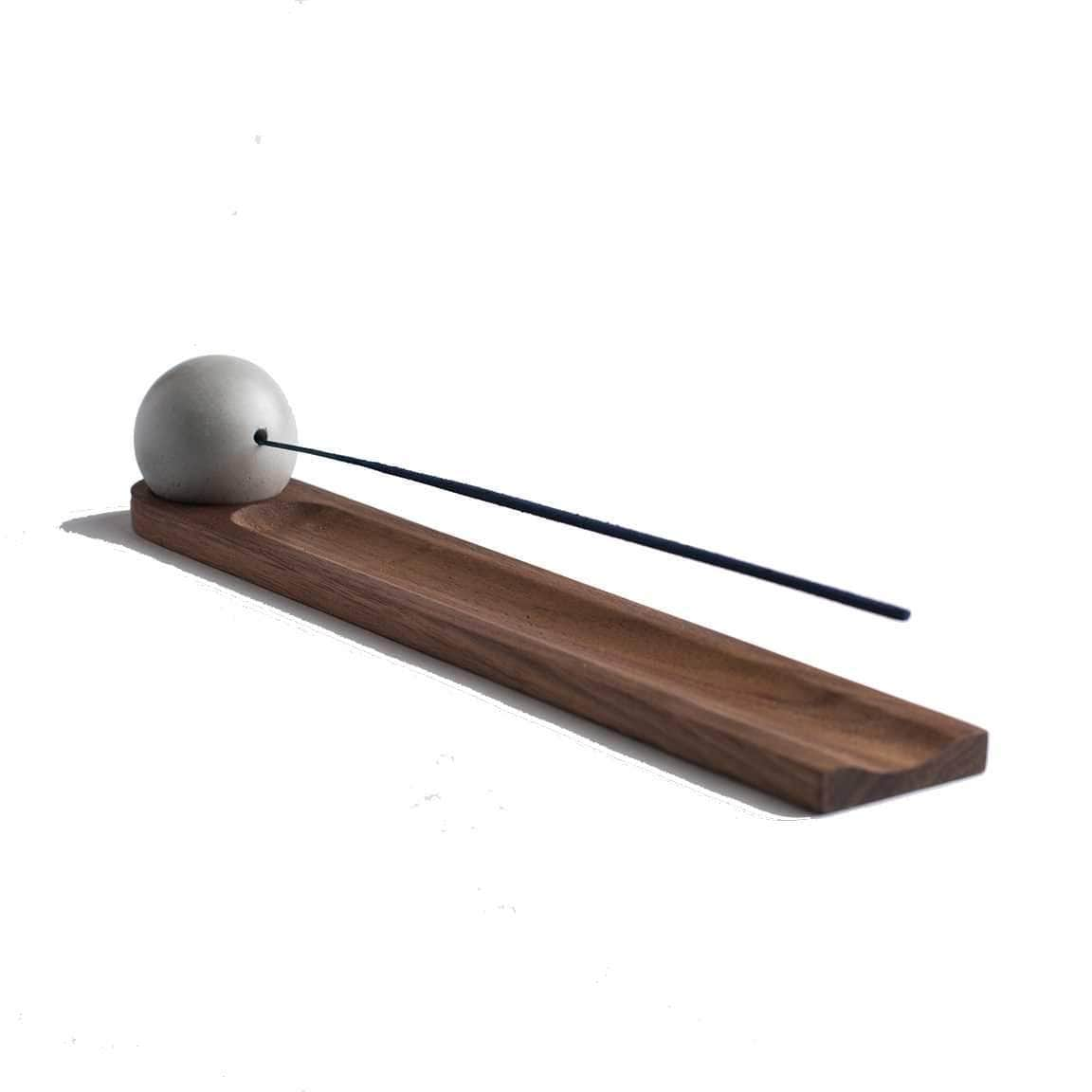 KOMOLAB Candles, Diffusers + Incense Walnut Concrete Sphere + Wood Incense Burner