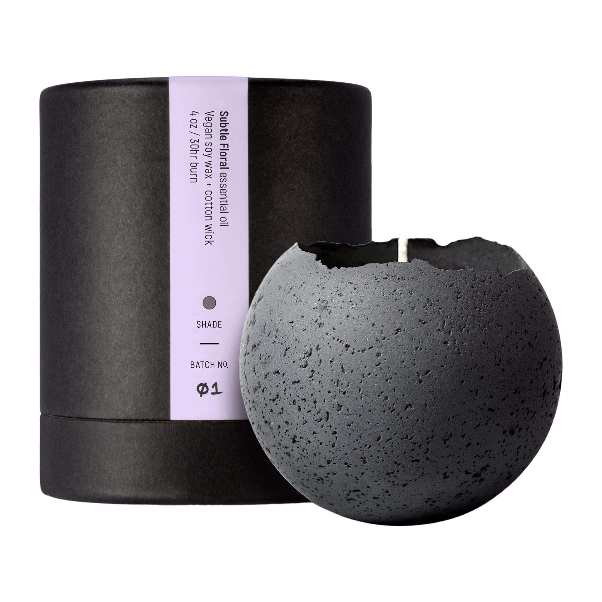 Konzuk Candles, Diffusers + Incense Large Orbis Concrete Candle in Charcoal