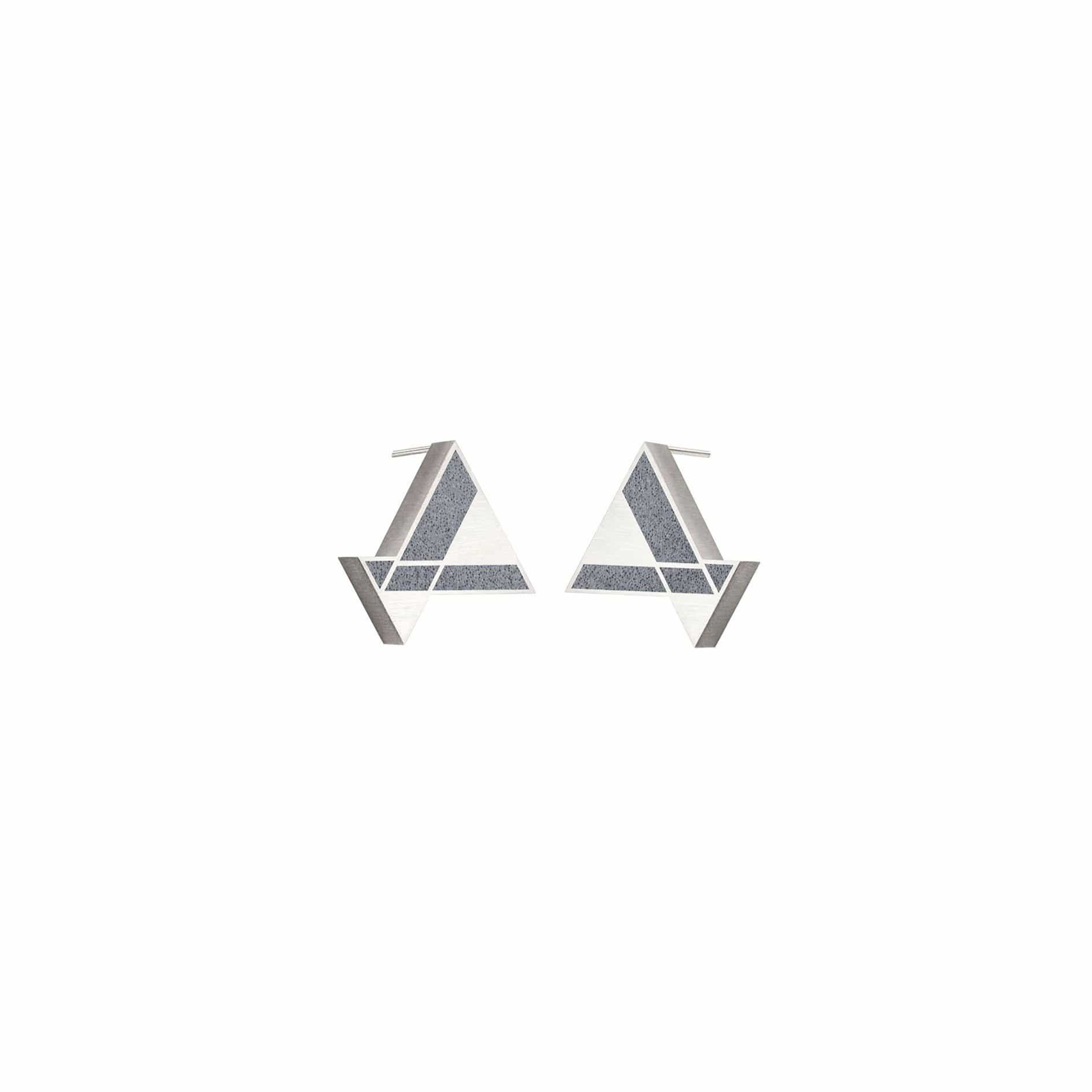 Konzuk Earrings DG - Dark Grey Imperial Hotel Concrete Earring Triangle Studs