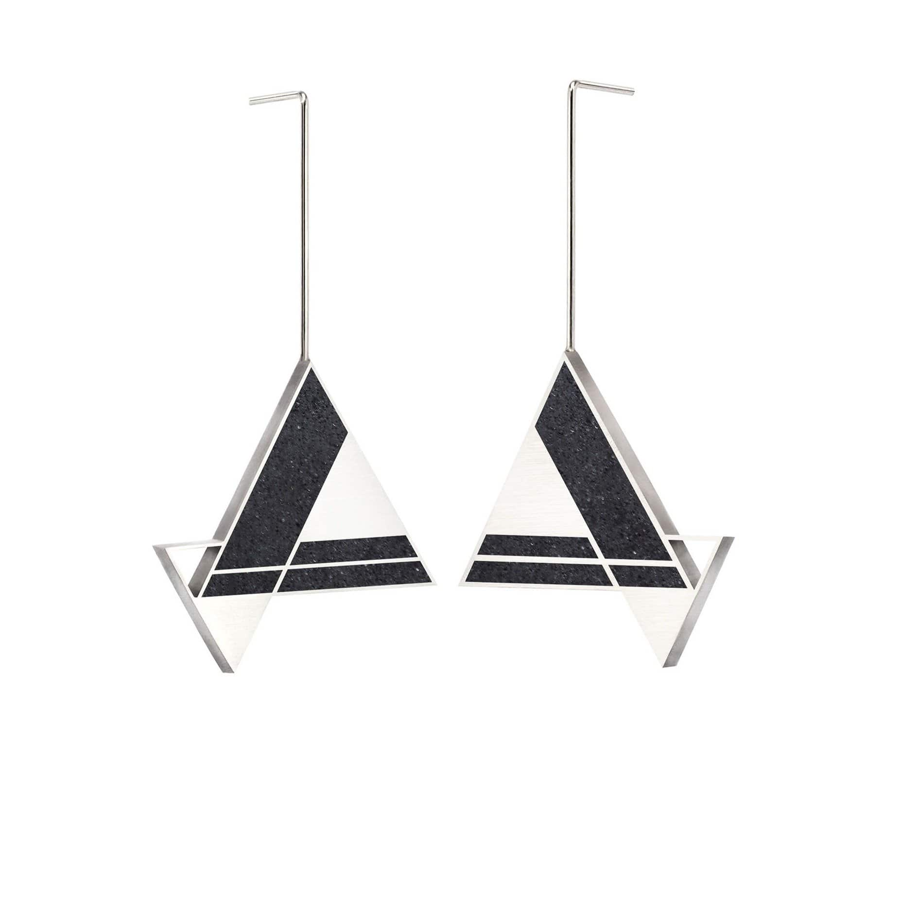 Imperial Hotel Concrete Earring Triangle Drops