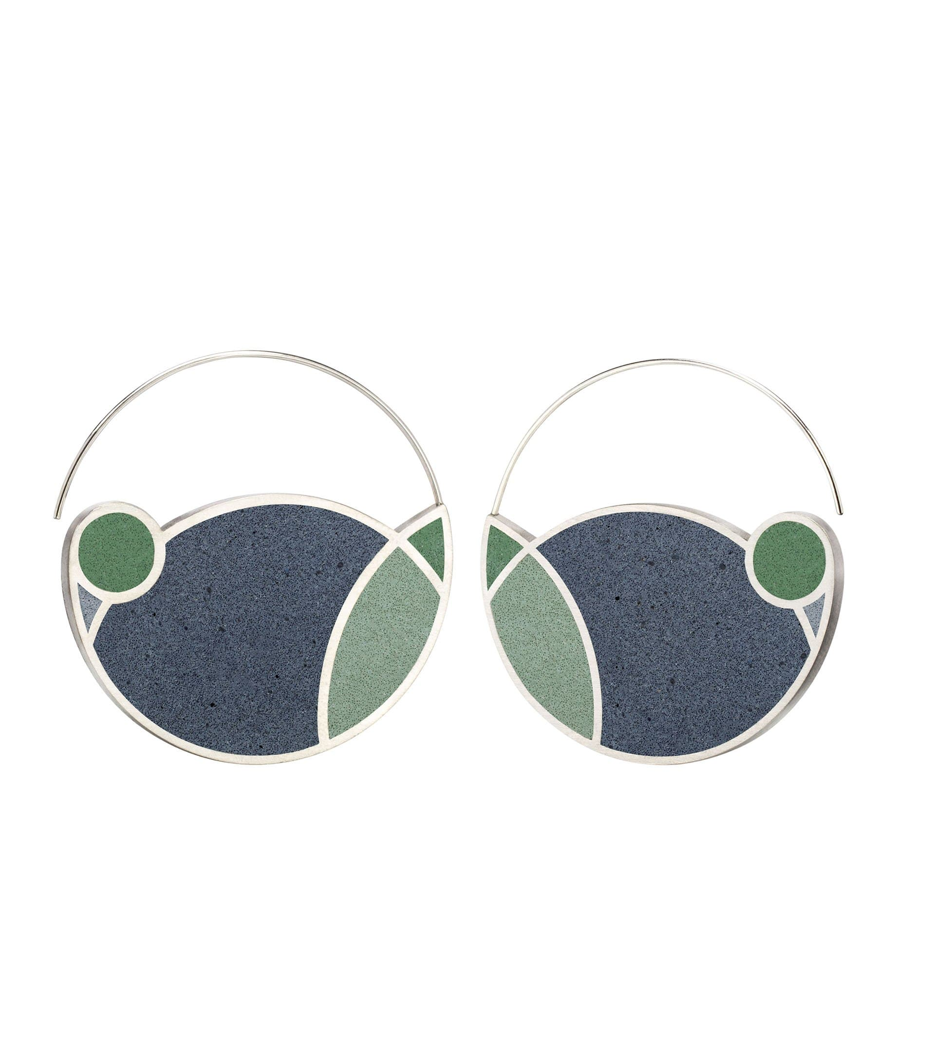 Konzuk Earrings Mix 2 - Indigo Blue March Balloons Concrete Hoop Earrings 1