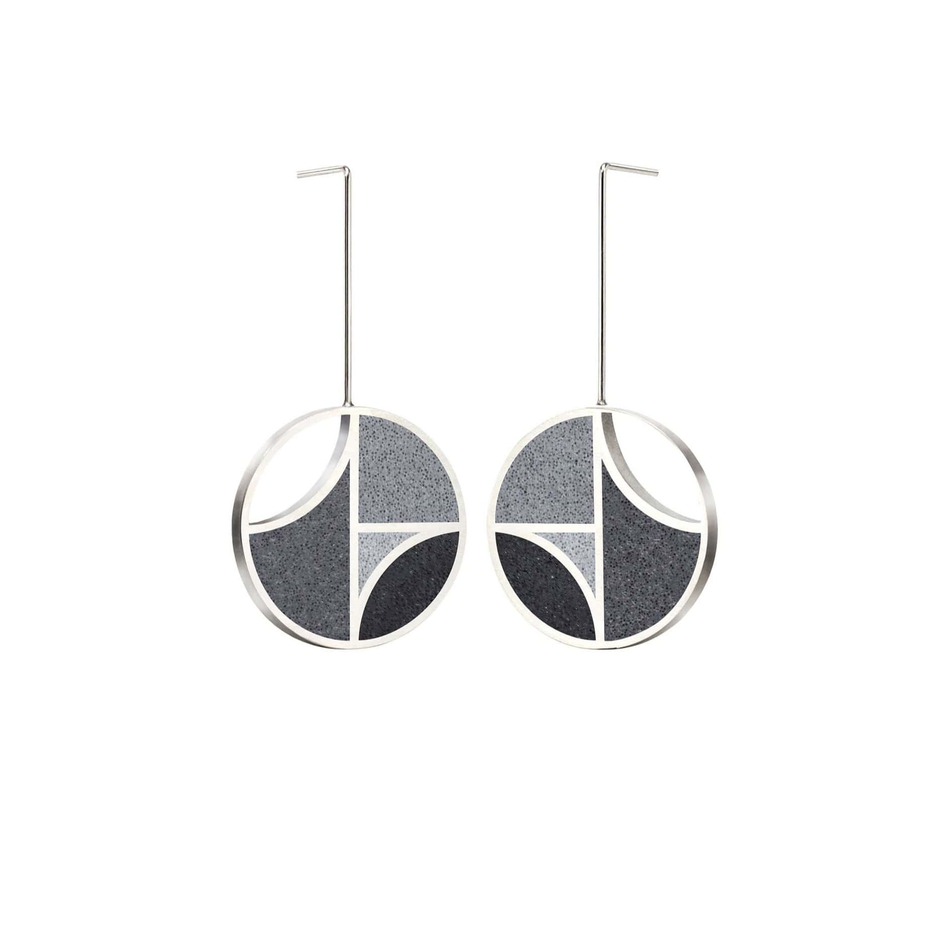 Konzuk Earrings Mix K- Black Saguaro Concrete Earring Drops 3