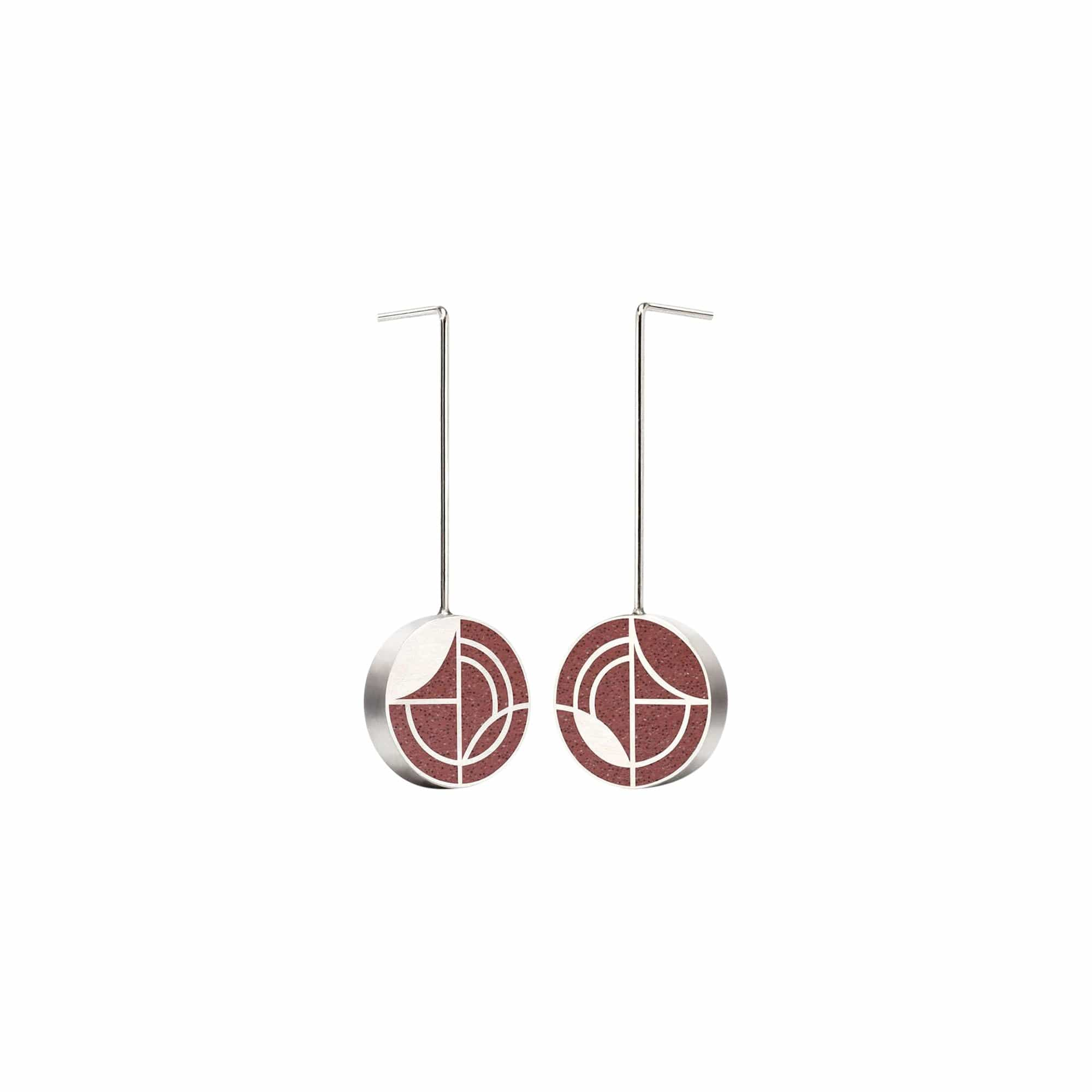 Konzuk Earrings TR - Taliesin Red Small Saguaro Concrete Earring Drops