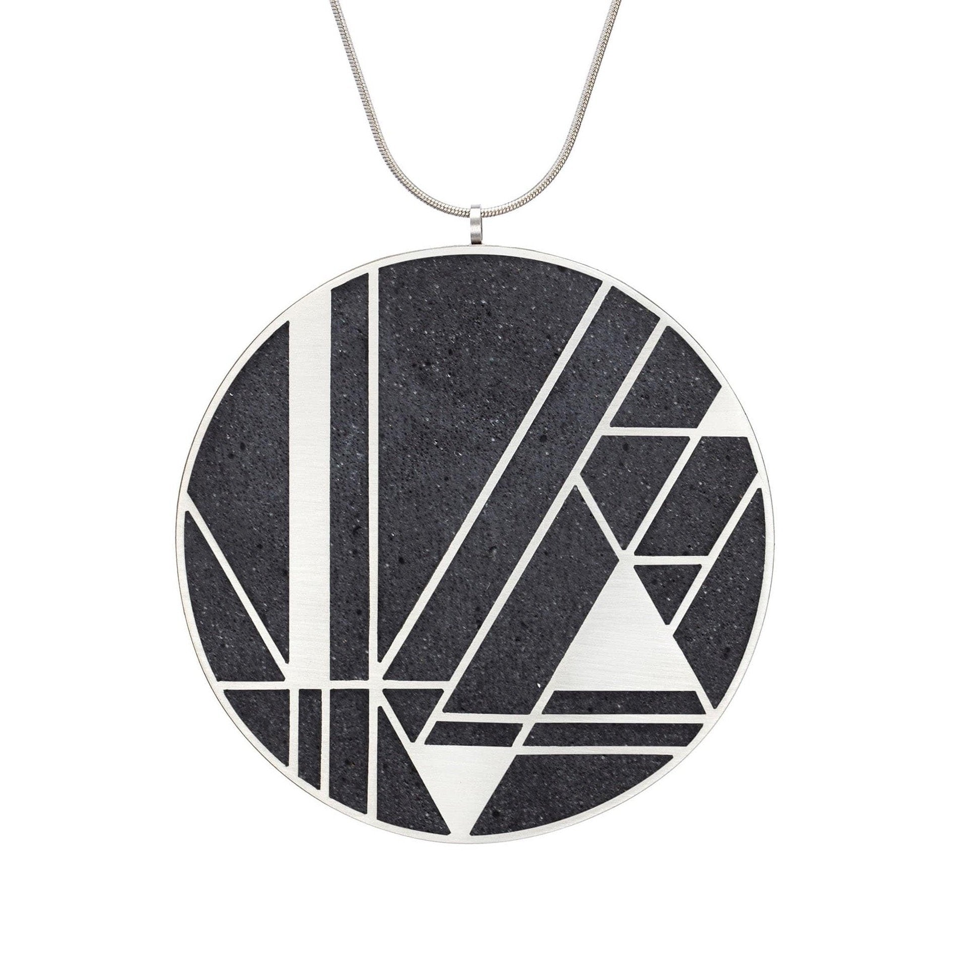 "Konzuk Necklaces K - Black / 28"" Imperial Hotel Large Concrete Necklace"