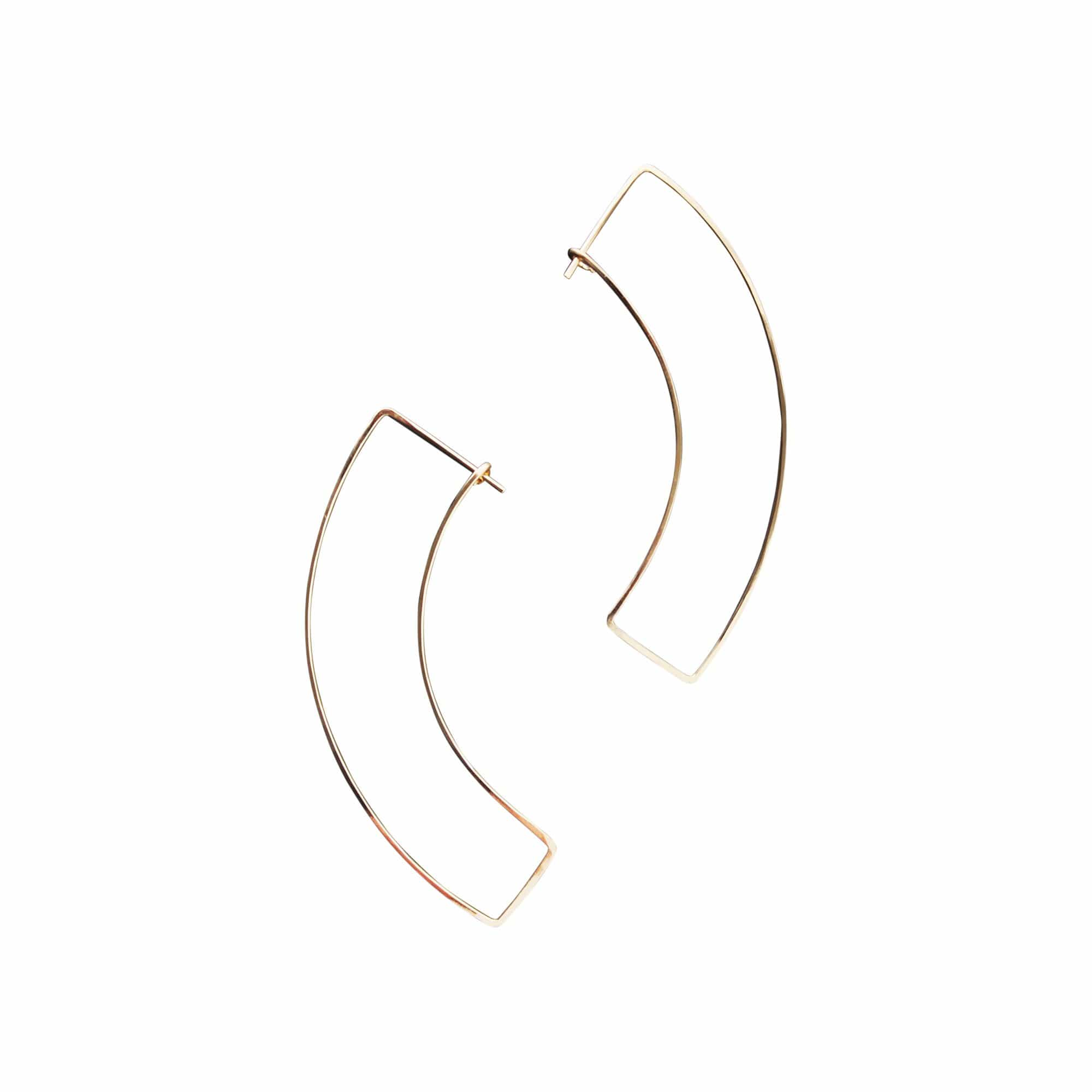 L.Greenwalt Jewelry Earrings Gold Fill Curve Gold Hoop Earrings