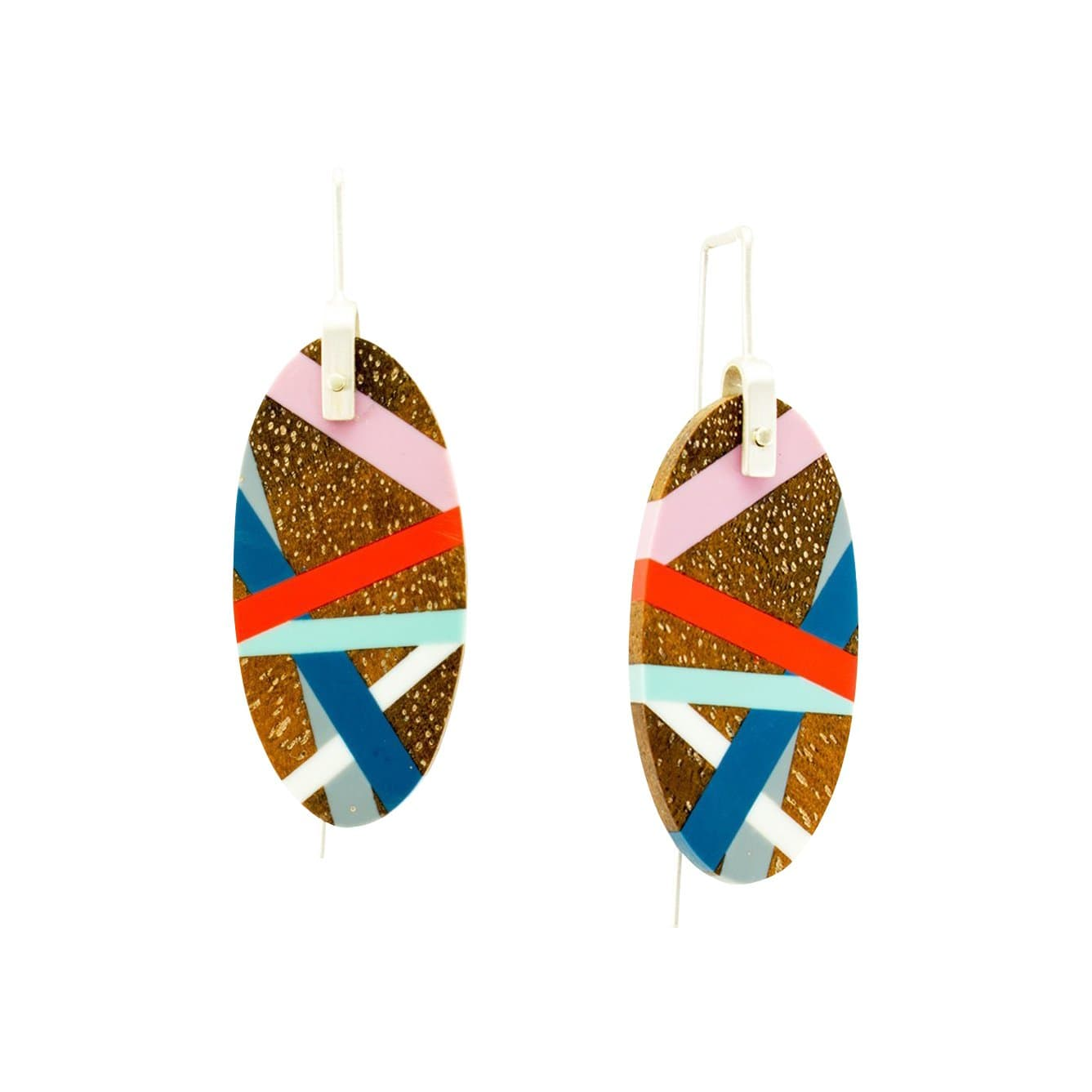 Blue Coral Ebony Wood with Inlay Hanging Earrings