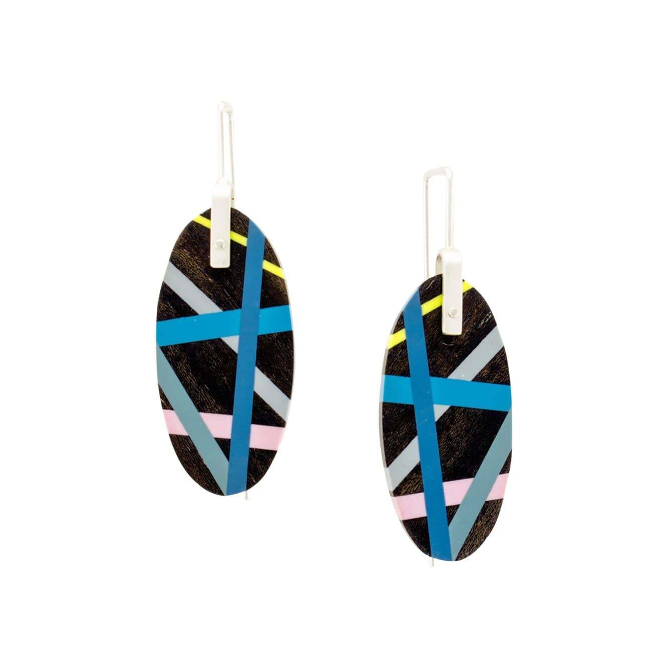 Laura Jaklitsch Jewelry Earrings Ebony Wood with Cobalt/Lilac/Citron Inlay Hanging Earrings