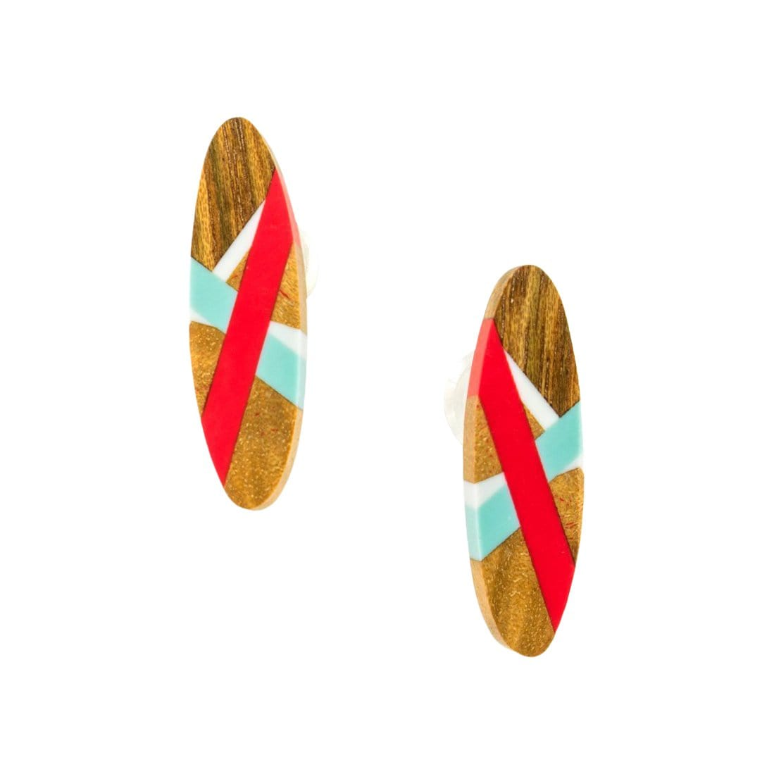 Laura Jaklitsch Jewelry Earrings Maple and Tasmanian Blackwood with Red/Aqua Inlay Stud Earrings