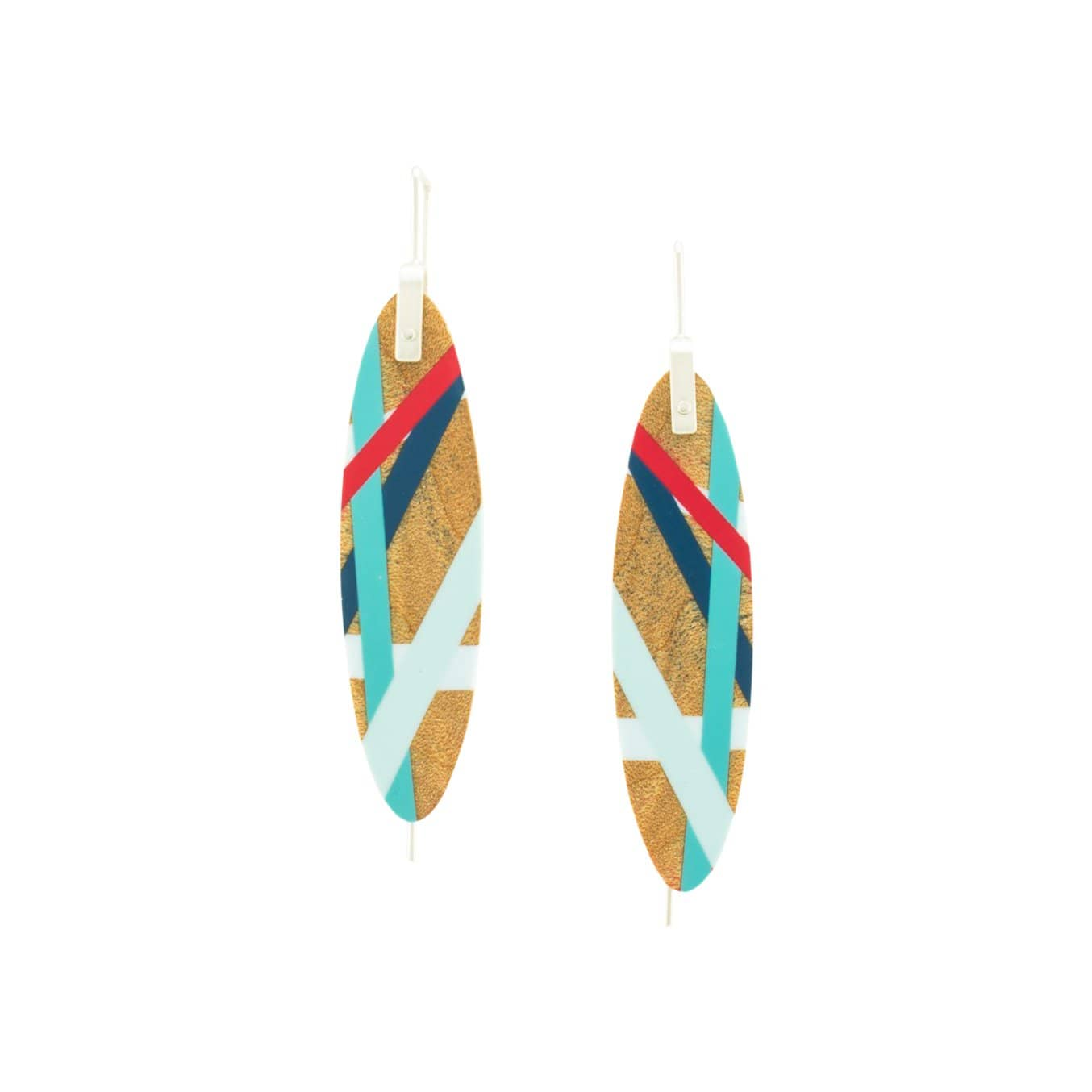 Laura Jaklitsch Jewelry Earrings Maple Wood with Red/Blue Inlay Hanging Earrings