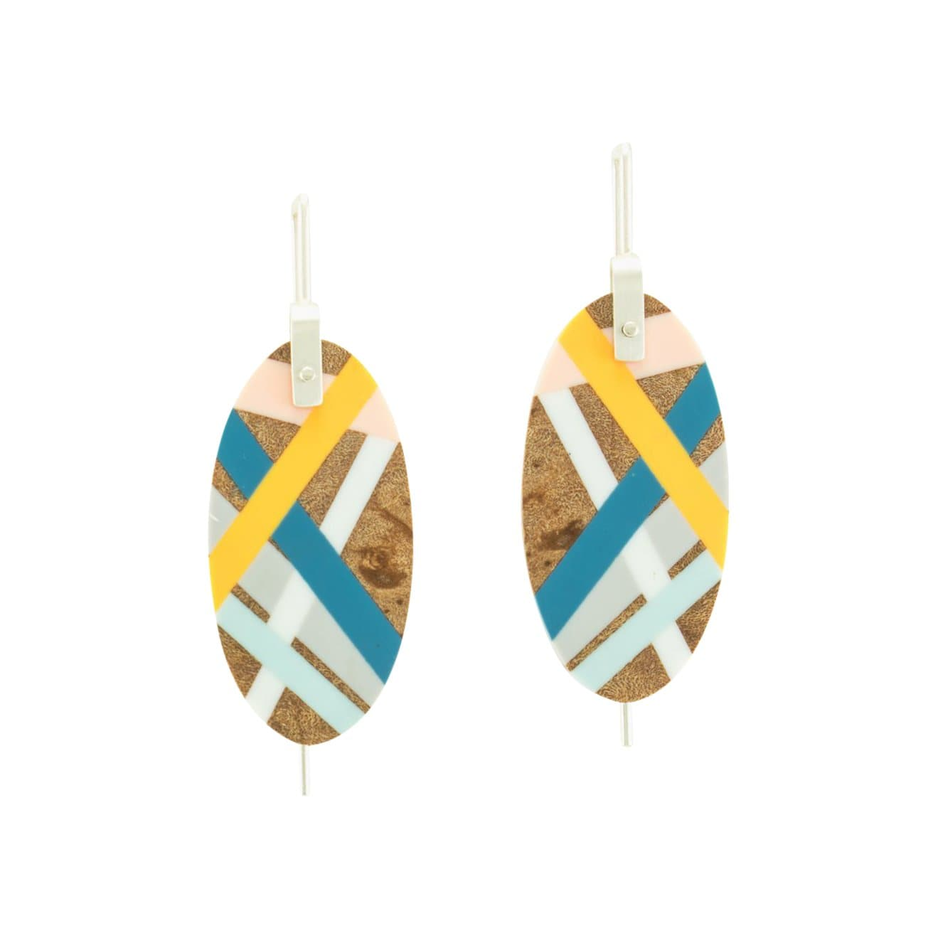 Laura Jaklitsch Jewelry Earrings Marina Burled Maple Wood with Inlay Hanging Earrings