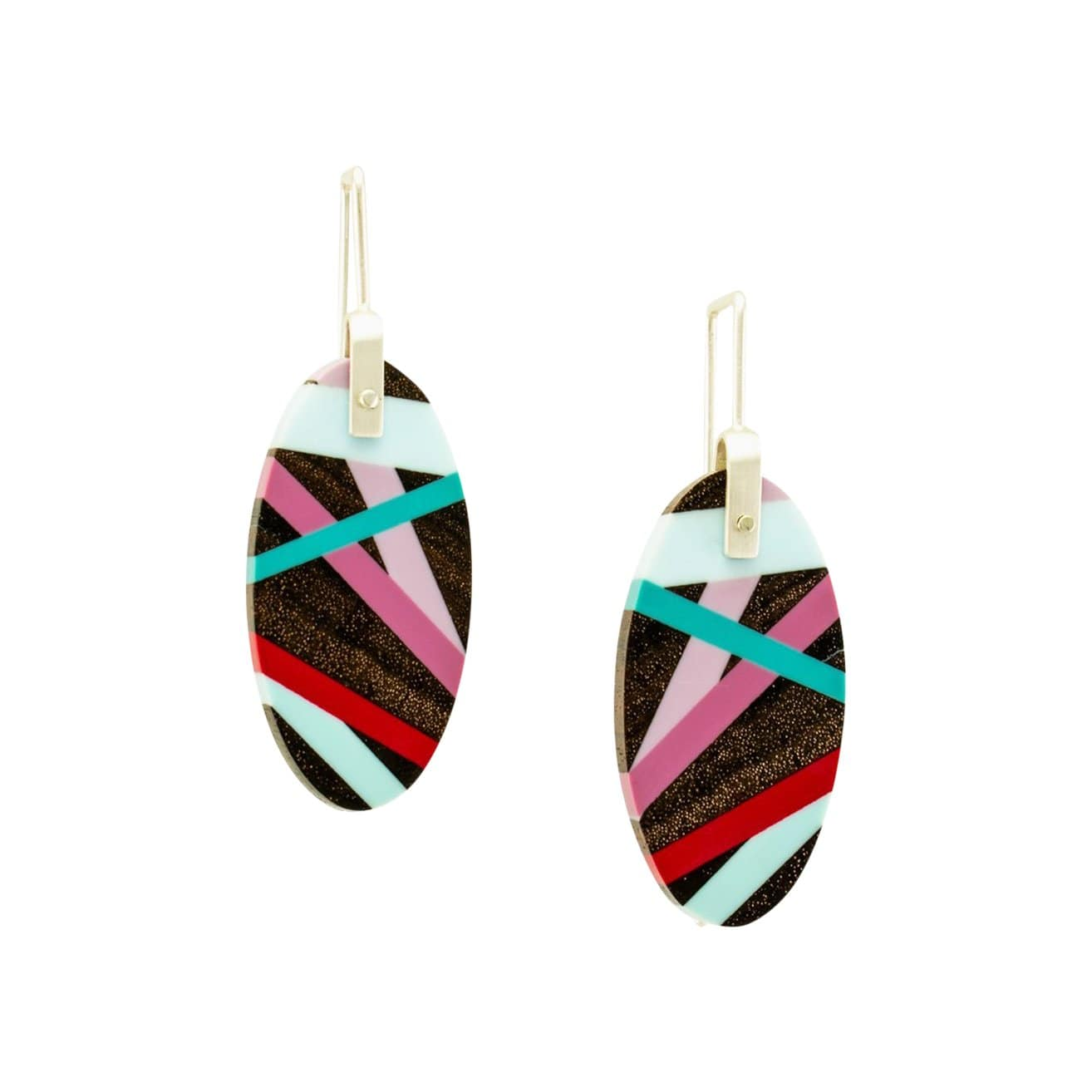 Laura Jaklitsch Jewelry Earrings Mini Wood with Red/Blue Inlay Hanging Earrings
