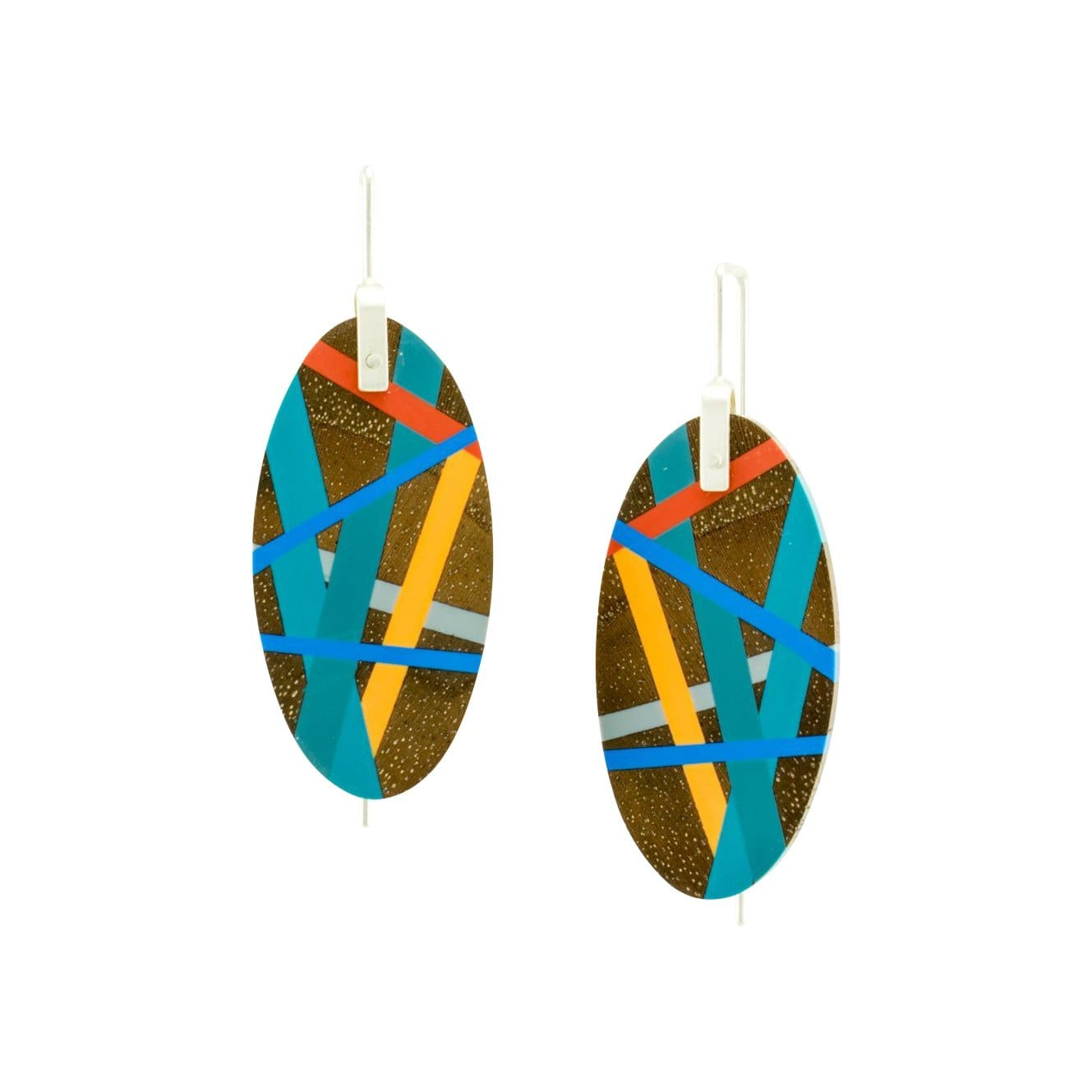 Laura Jaklitsch Jewelry Earrings Pacific Coast Walnut Wood with Inlay Hanging Earrings