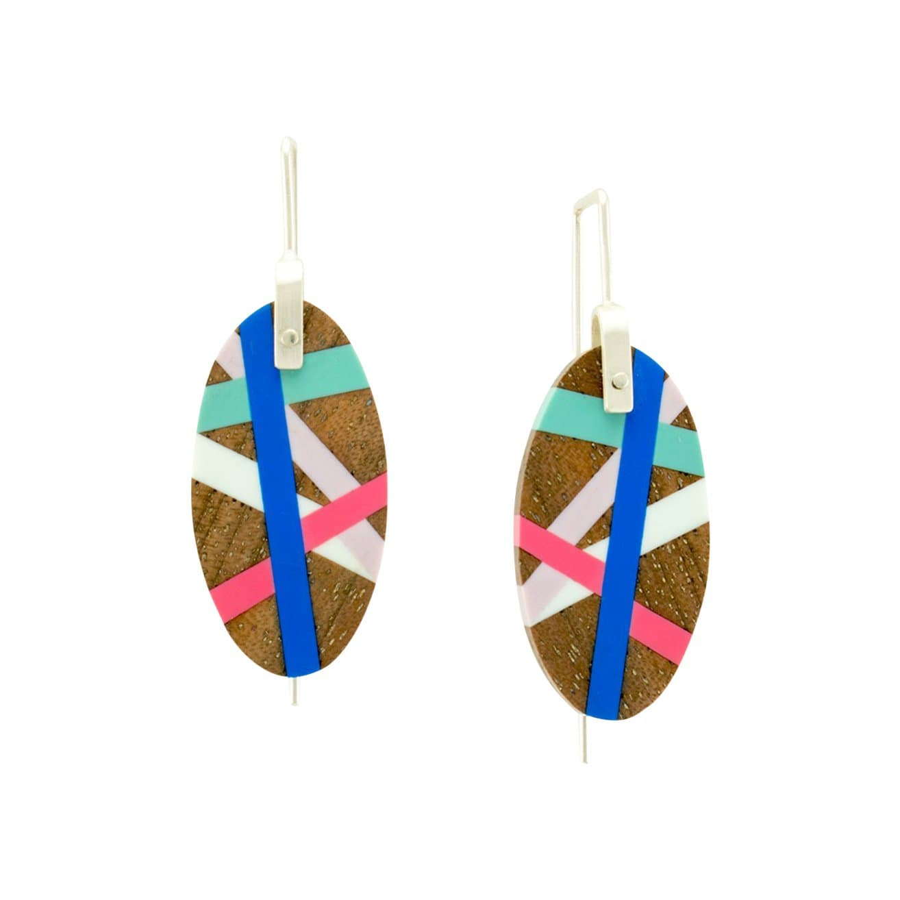 Laura Jaklitsch Jewelry Earrings Pink/Blue with Inlay Hanging Earrings