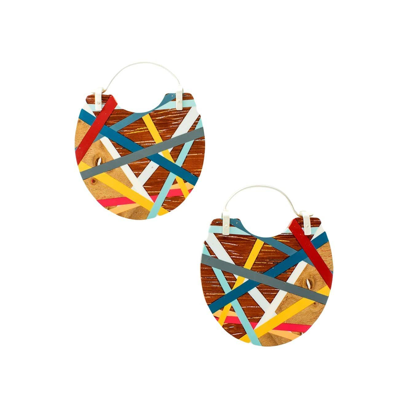 Laura Jaklitsch Jewelry Earrings Primary Color Maple and Padauk Wood with Inlay Hoop Earrings