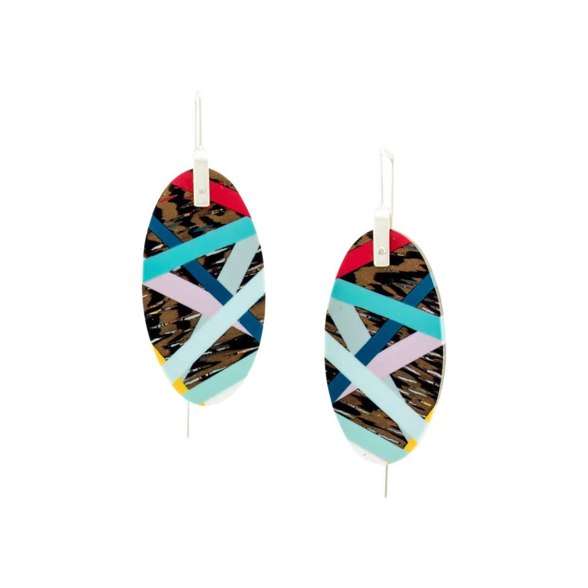 Laura Jaklitsch Jewelry Earrings Wenge Wood with Inlay Hanging Earrings