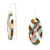 Laura Jaklitsch Jewelry Earrings Wood with Pink/Grey/Yellow Inlay Hanging Earrings