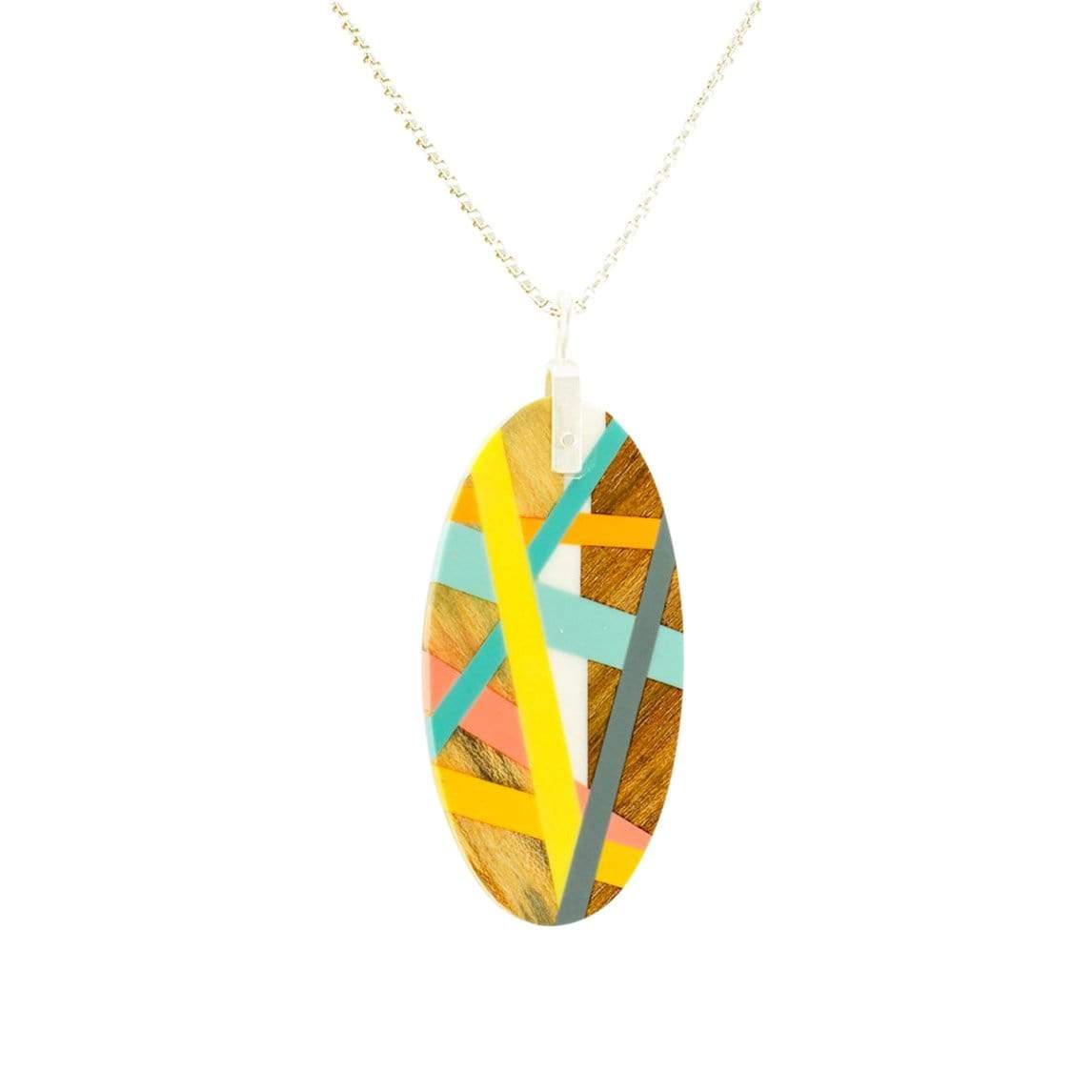 Laura Jaklitsch Jewelry Necklaces 3-Wood Bright Finish Meyer Lemon Necklace with Inlay