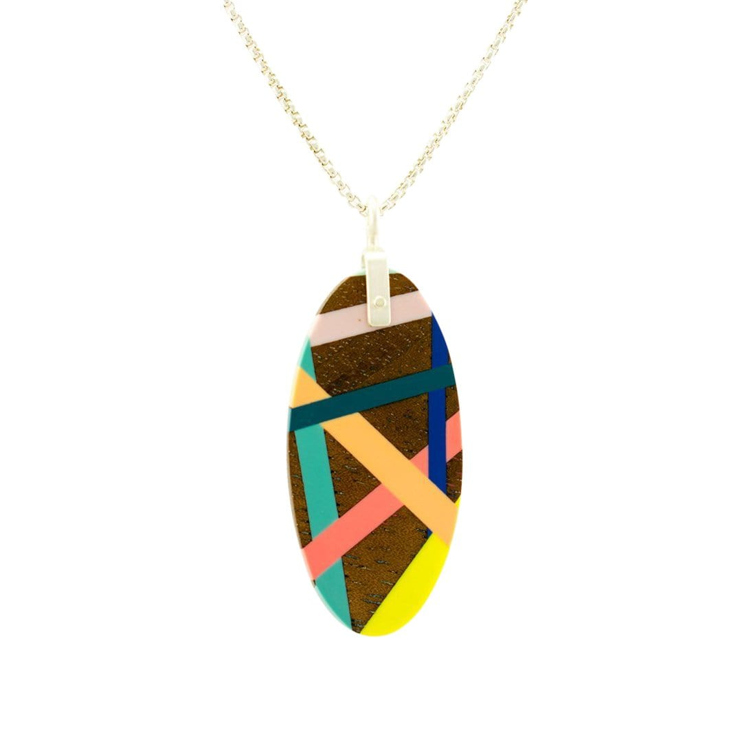 Laura Jaklitsch Jewelry Necklaces Bright Finish Tropical Black Walnut Wood with Inlay Necklace