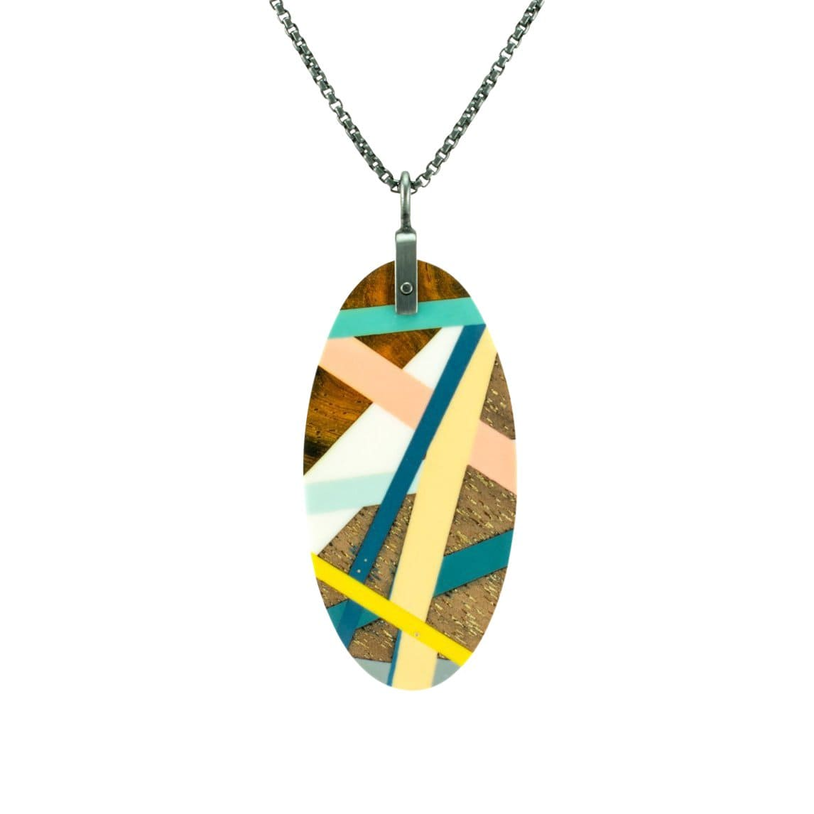 Laura Jaklitsch Jewelry Necklaces Cocobolo and Walnut Wood with Teal/Pink/Blue Inlay Necklace