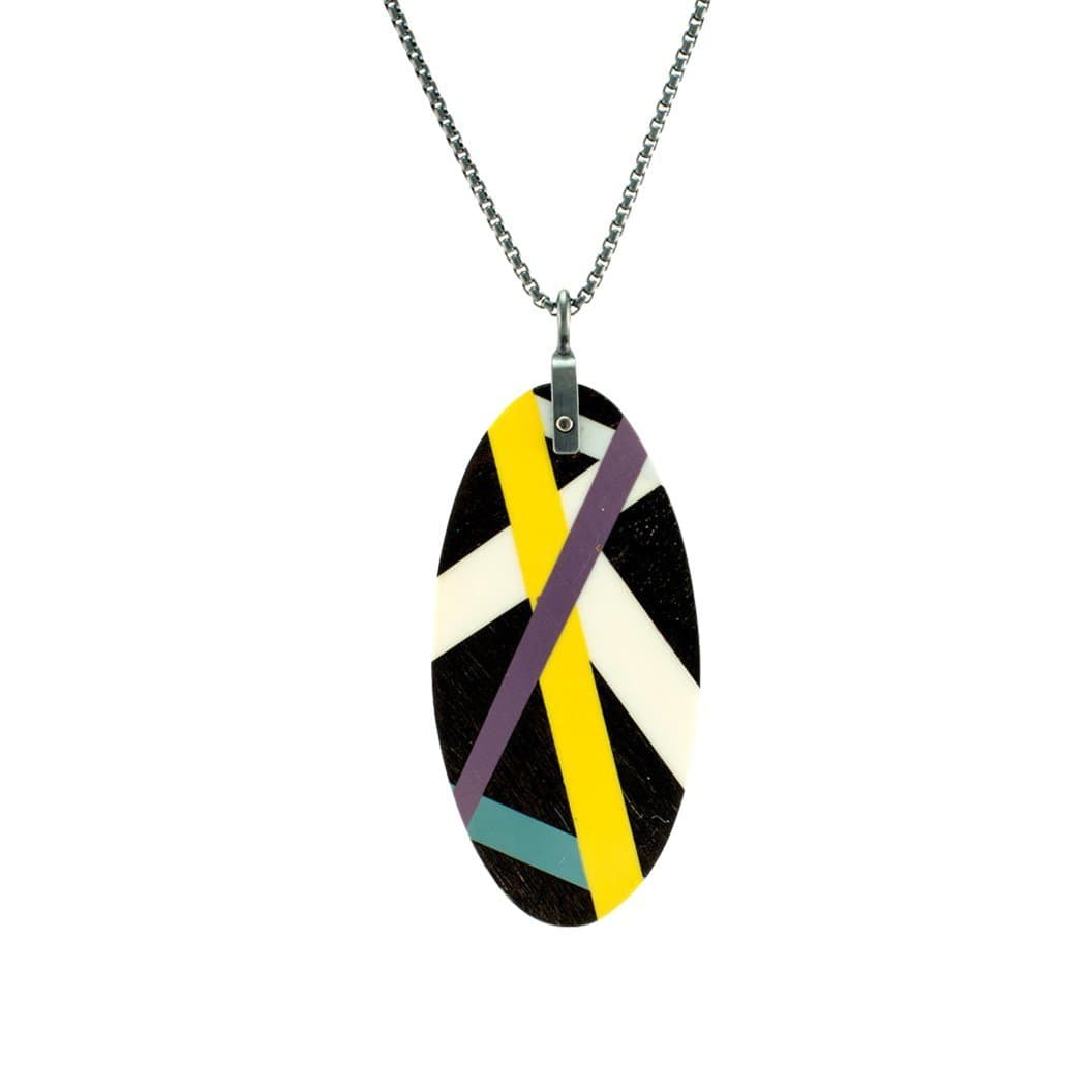 Laura Jaklitsch Jewelry Necklaces Graphic Line Ebony Wood  with Inlay Necklace