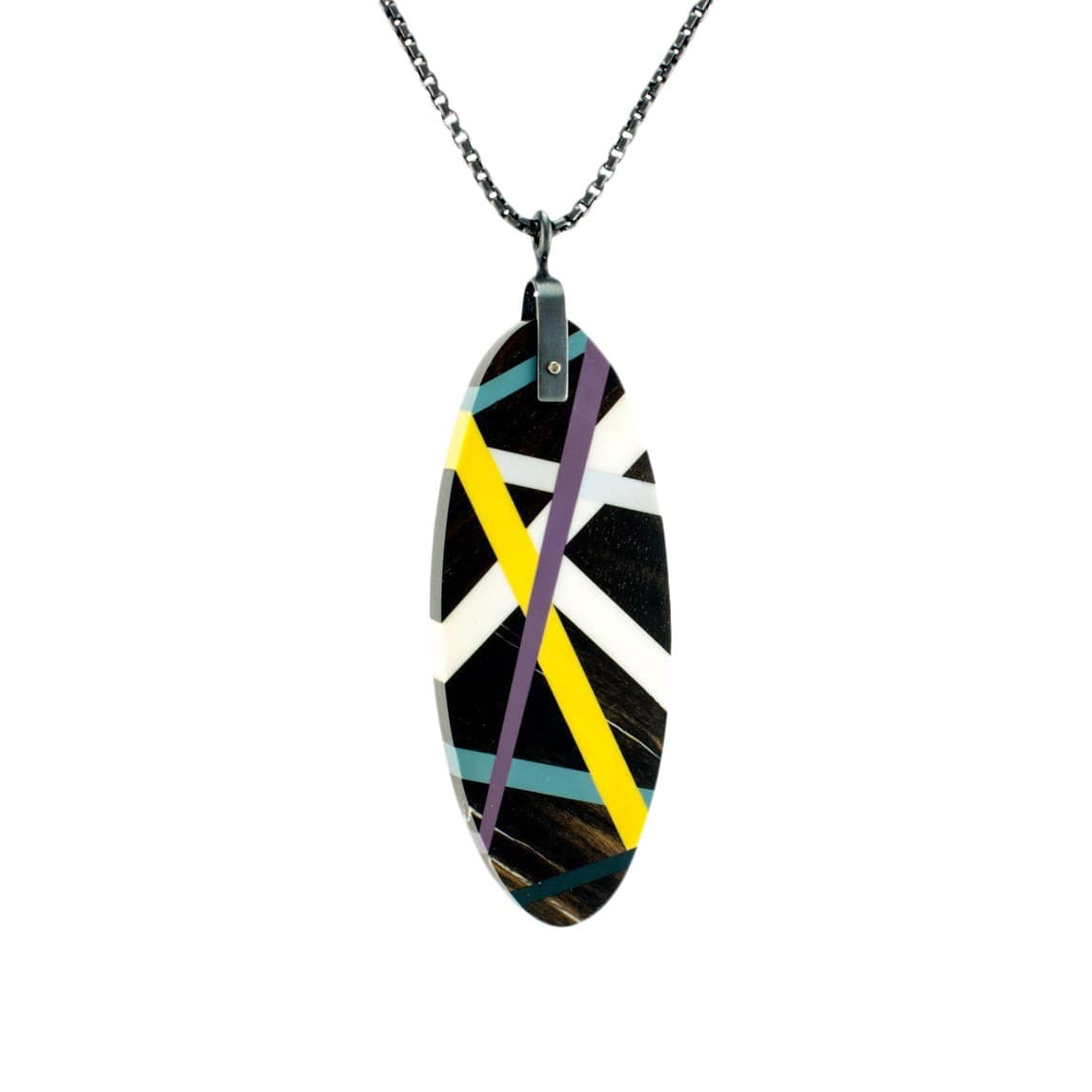 Laura Jaklitsch Jewelry Necklaces Large Tab Ebony Wood with Purple/Yellow/Teal Inlay Necklace