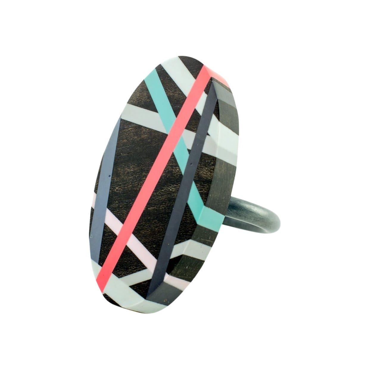 Laura Jaklitsch Jewelry Rings Coral Pop Ebony Wood with Inlay Ring