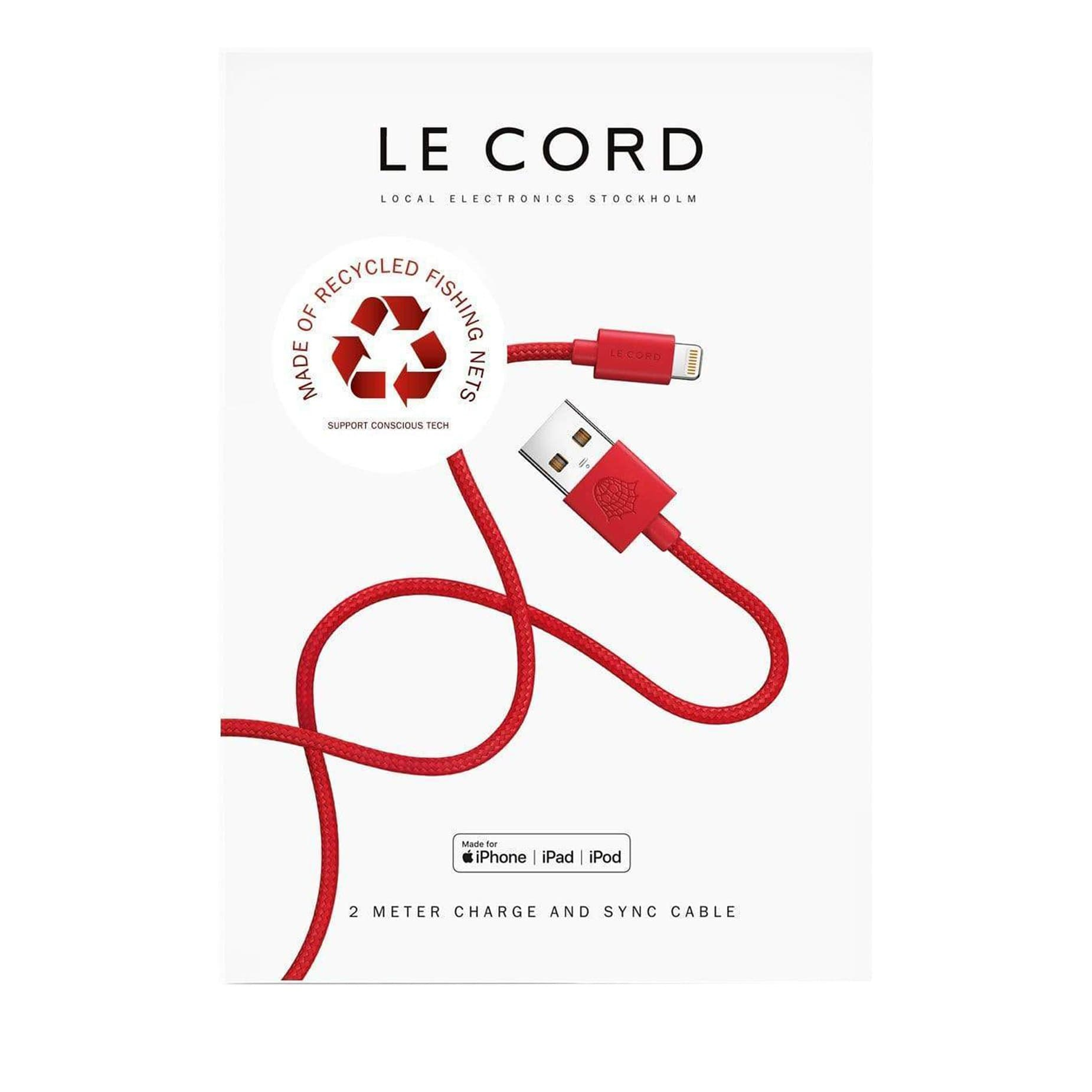 Recycled Red iPhone Lightning Cable (2 m)