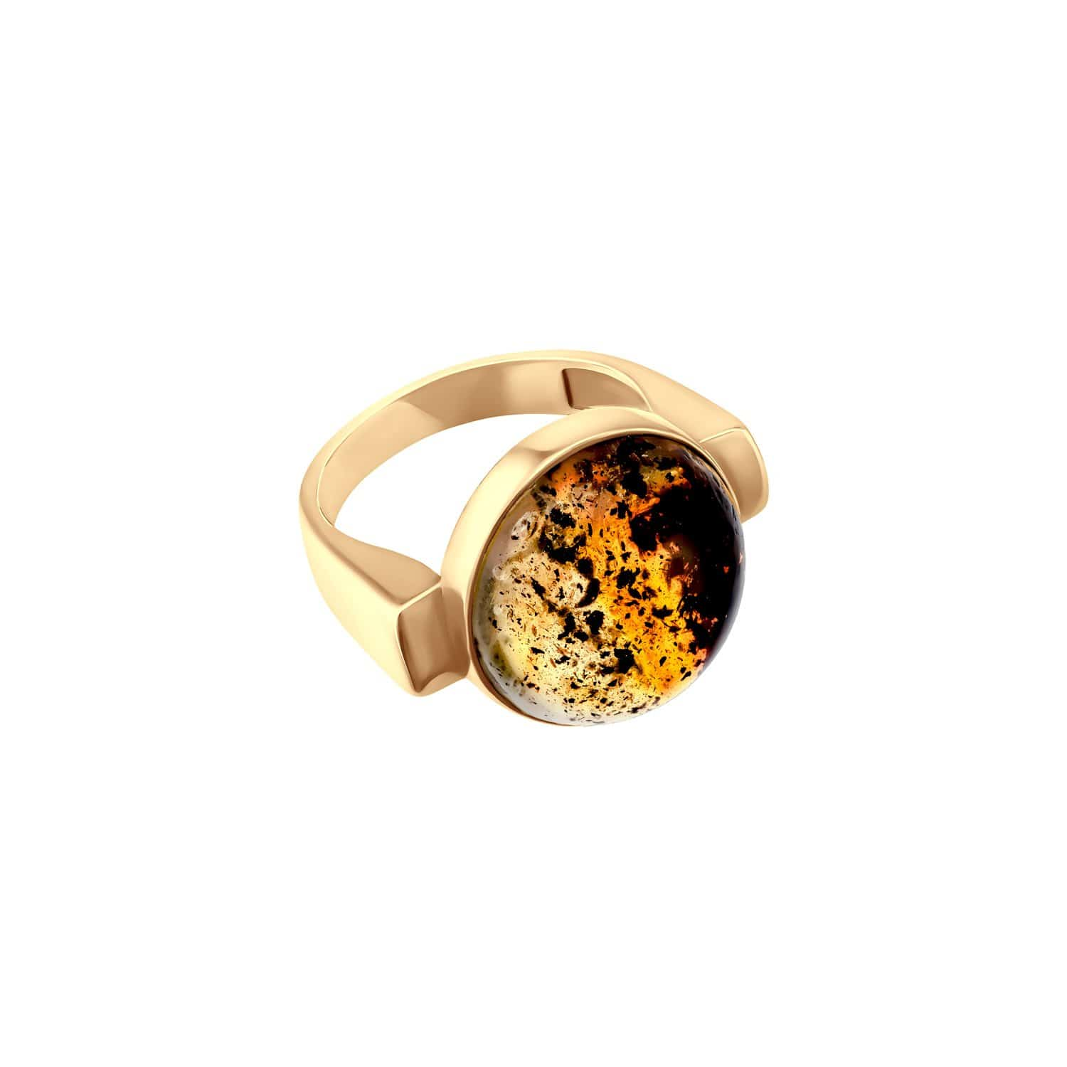 Leta Rings Modernism Gold + Inclusion Amber Ring