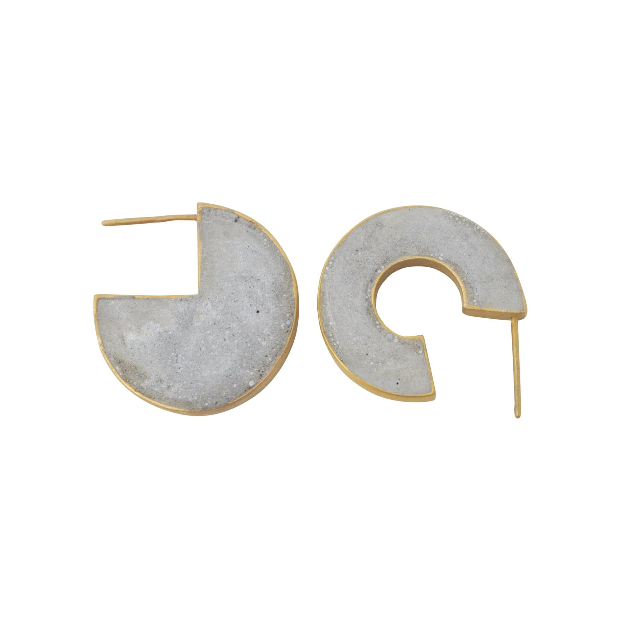 Lily Toya Earrings 14K gold-plated brass 3/4 Concrete Earrings