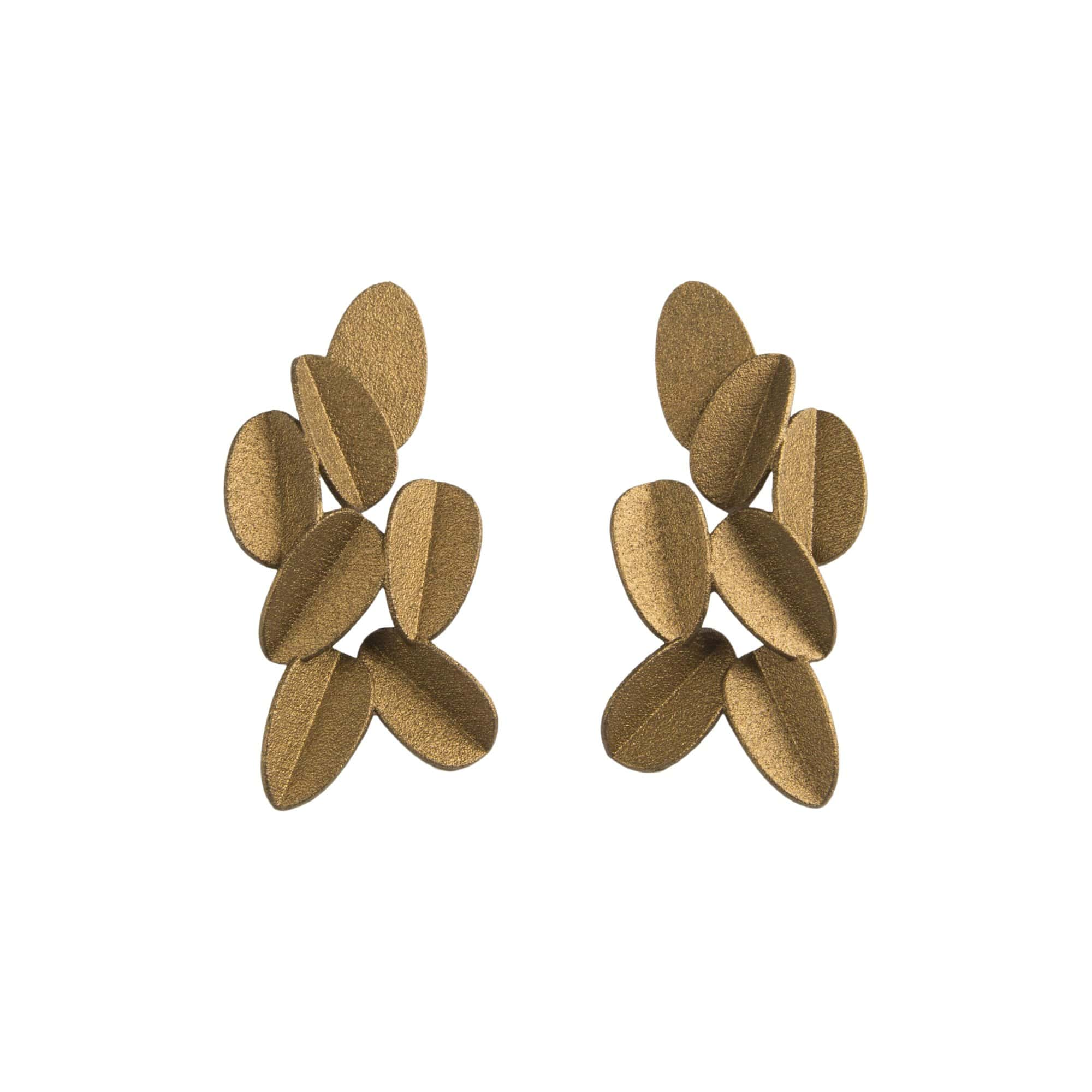 maison 203 Earrings Gold Metallic Leaves Earrings ll